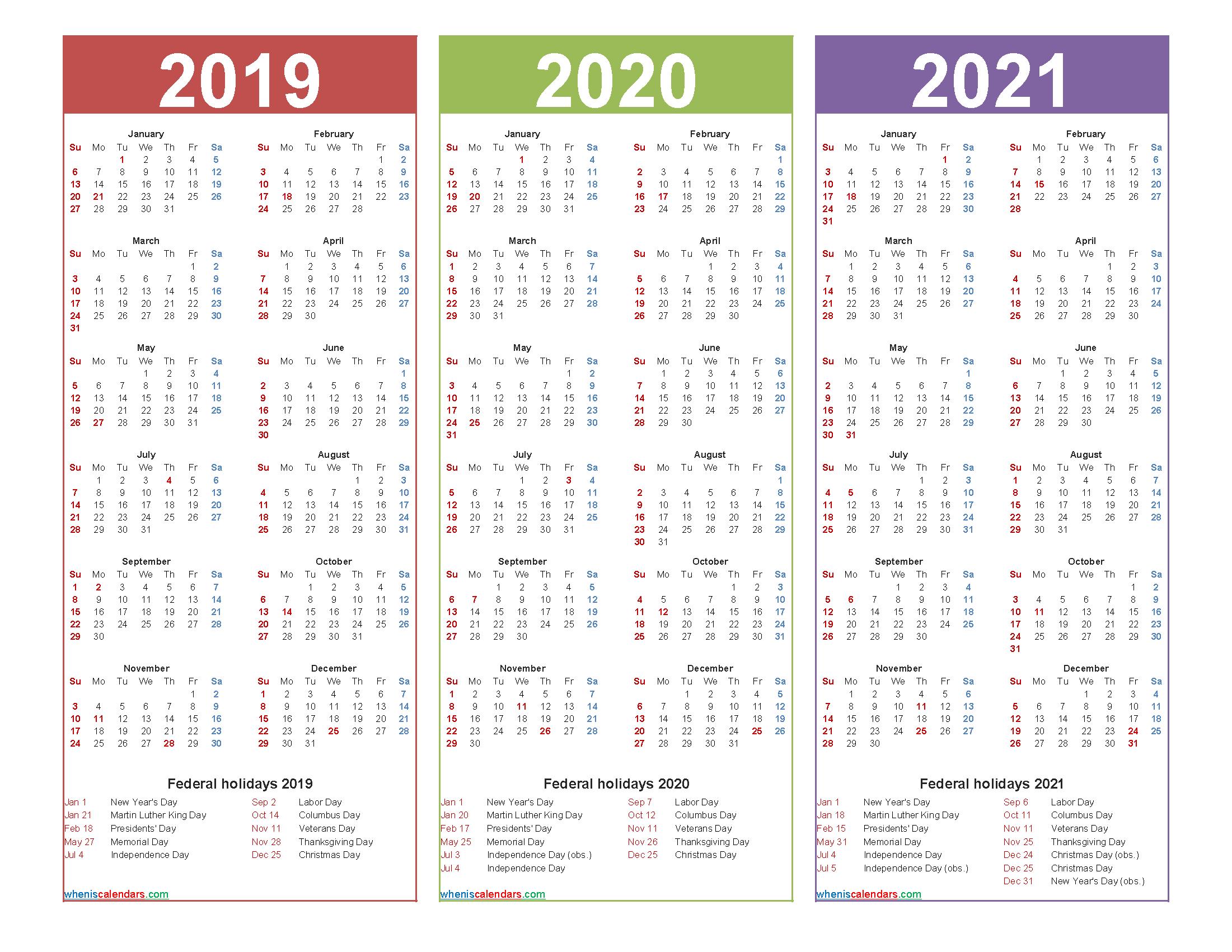 3 Year Calendar 2019 to 2021 Calendar with Holidays Printable