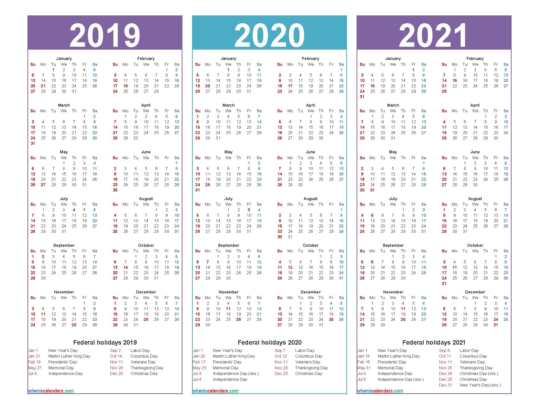 2019 2020 and 2021 Calendar with Holidays Printable
