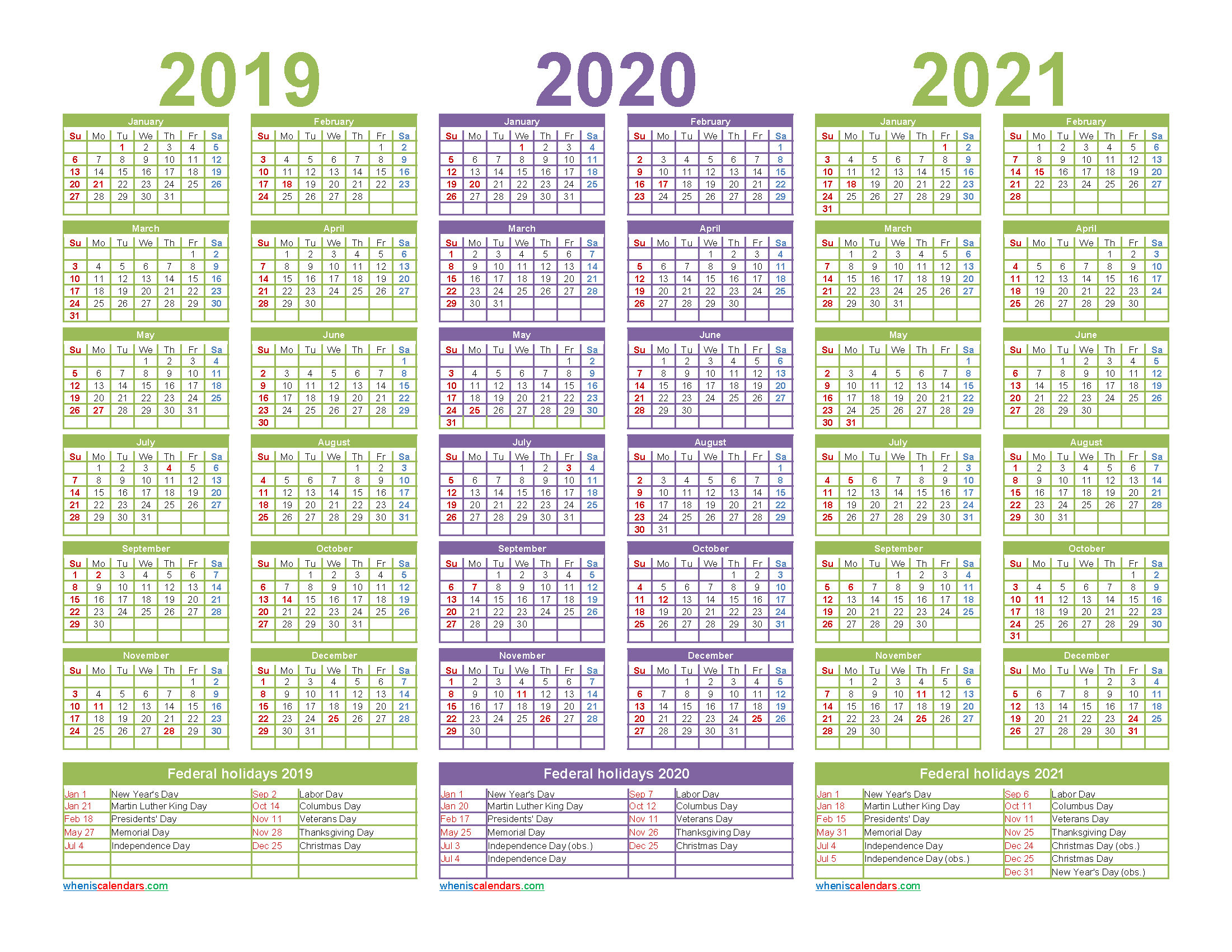 Printable Calendar 2019 2020 2021 with Holidays