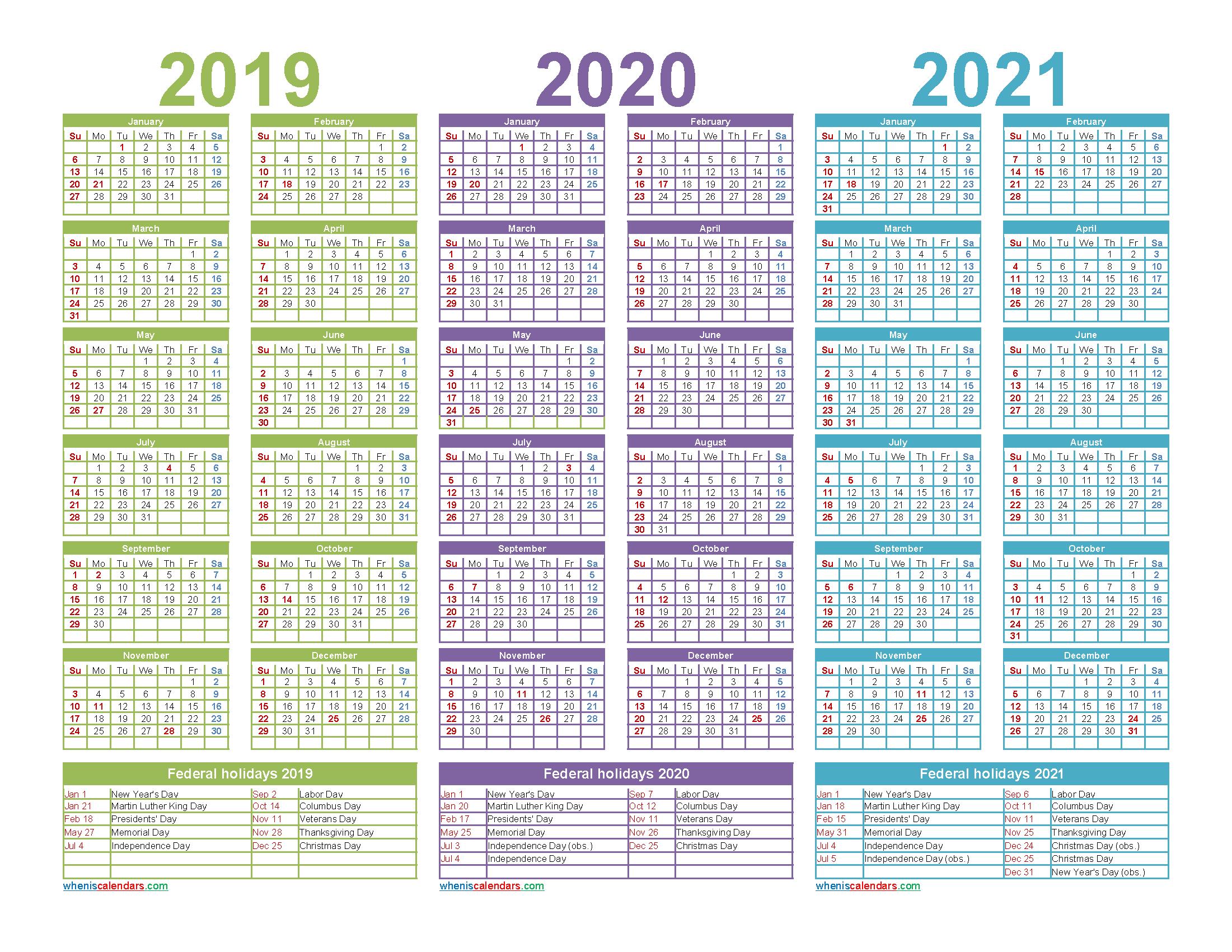 Printable Calendar for 2019 2020 and 2021 Word