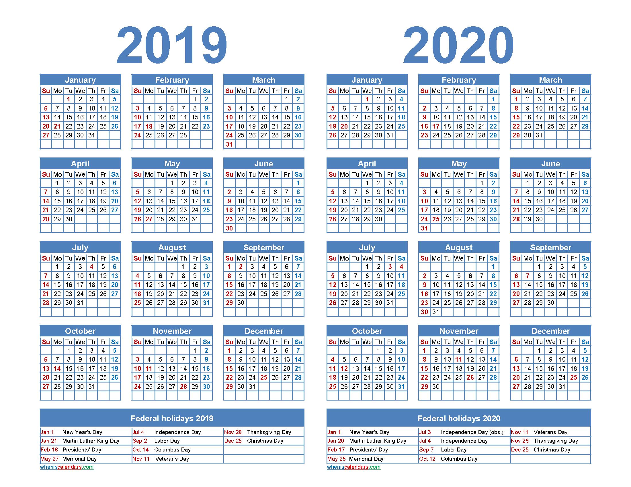 2019 and 2020 Calendar Printable Word, PDF