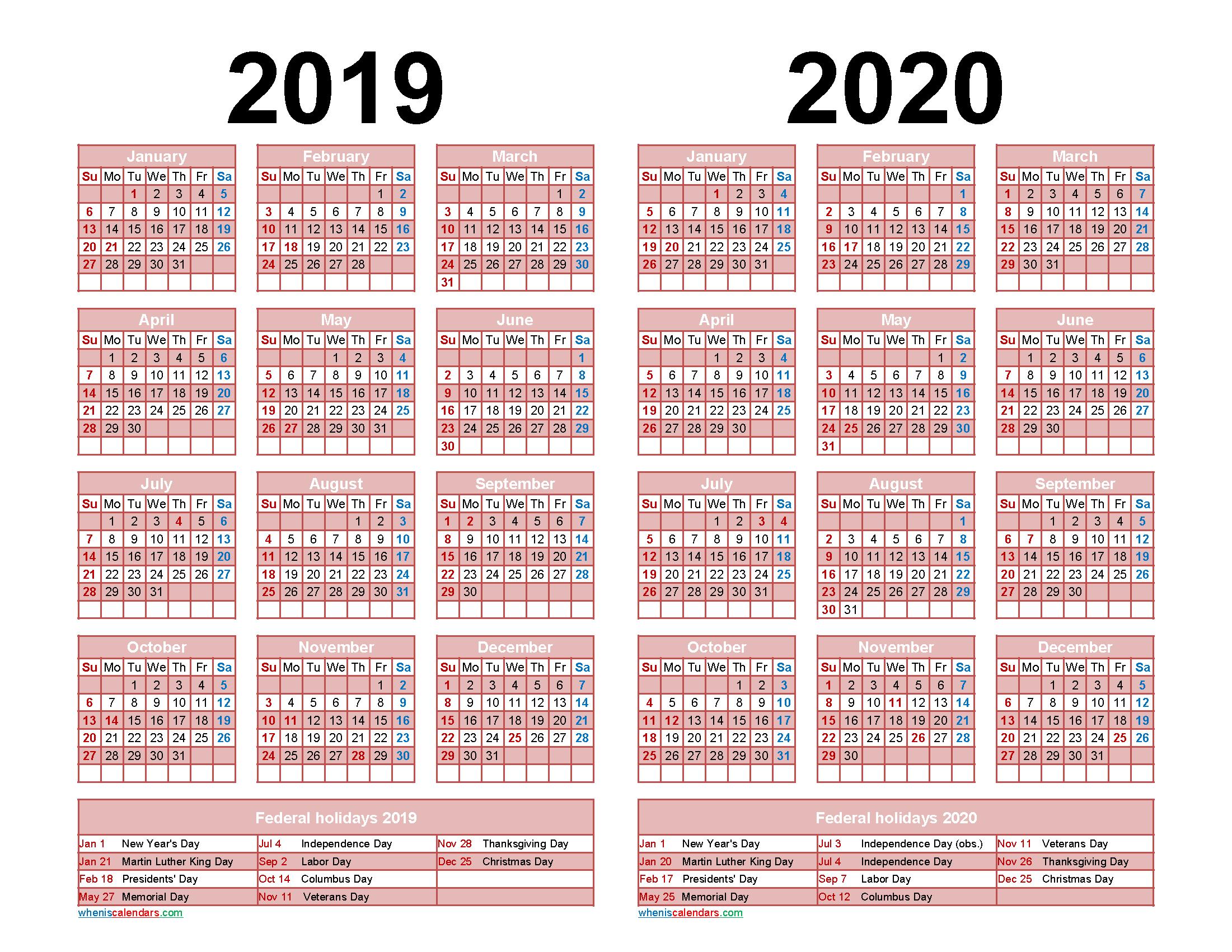 2019 2020 Calendar Printable with Holidays