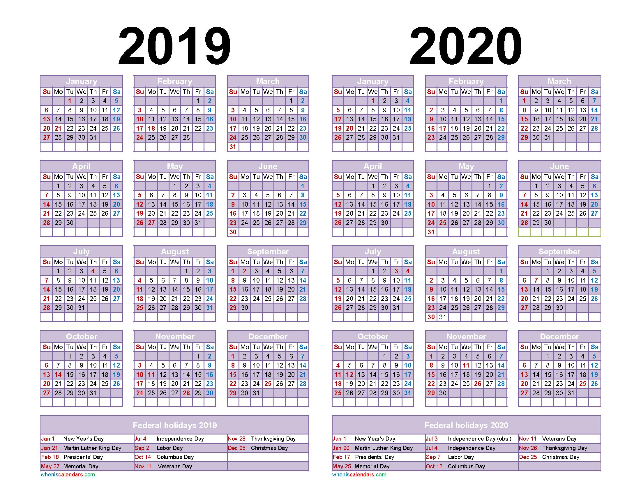 Free 2019 and 2020 Calendar Printable Word, PDF