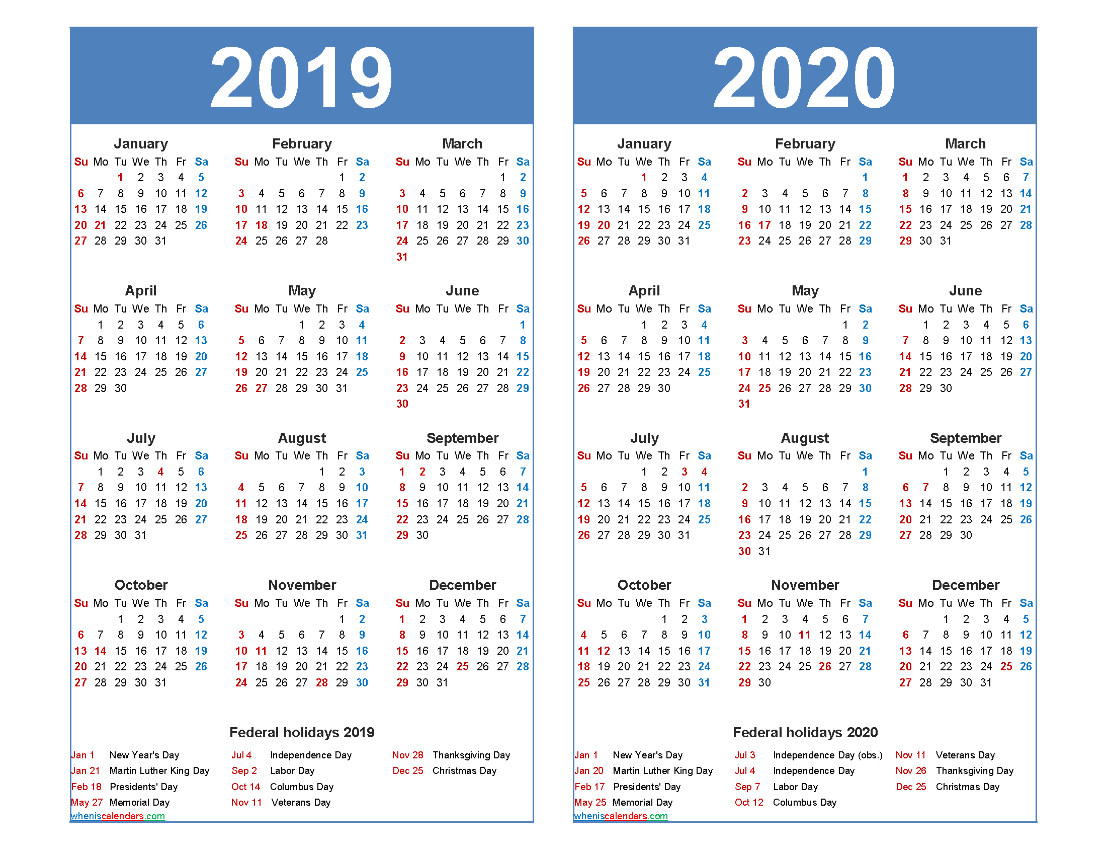 Free 2019 2020 Calendar Printable with Holidays