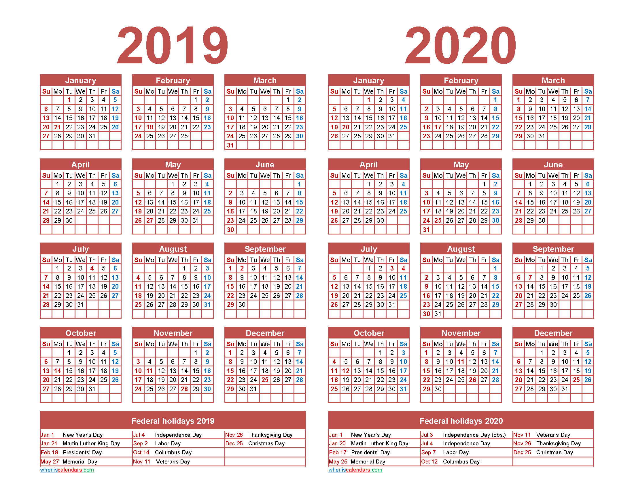 2019 and 2020 Calendar Printable with Holidays