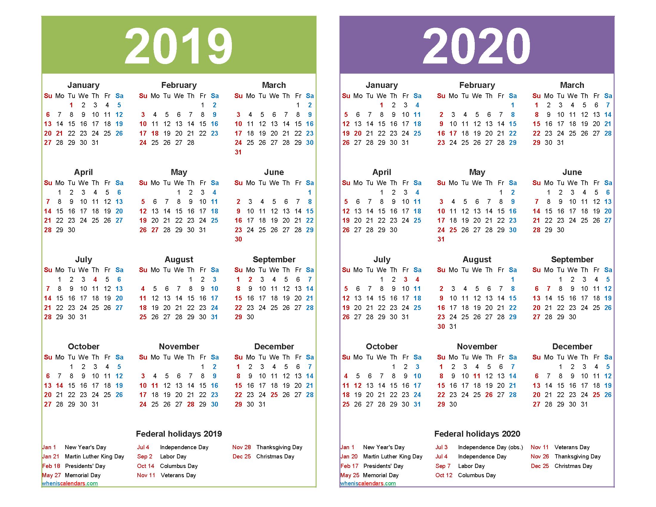 2019 and 2020 Calendar Printable with Holidays Word, PDF