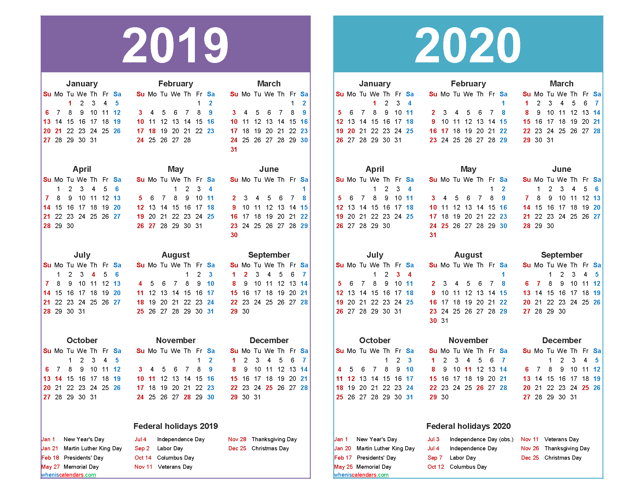 2019 2020 Calendar Printable with Holidays