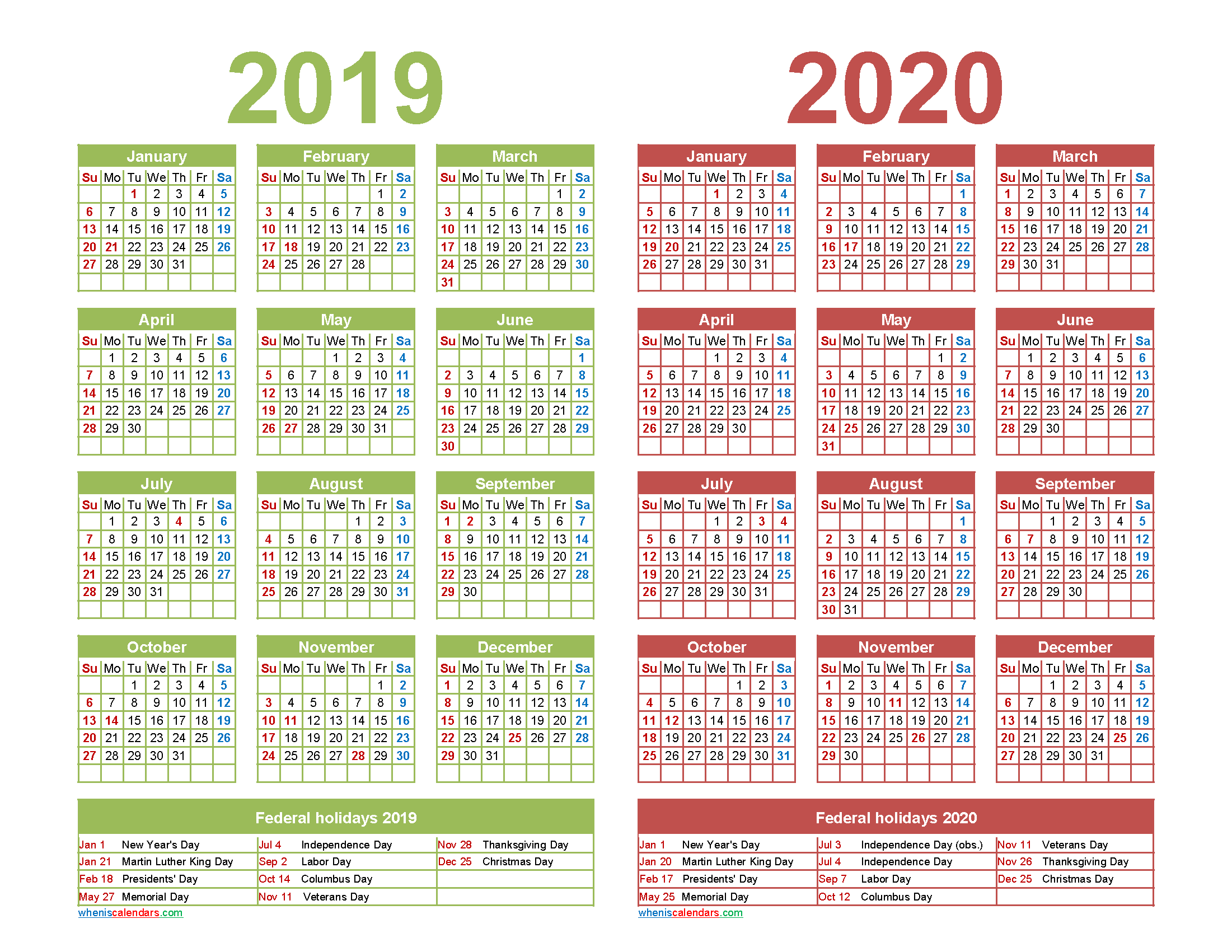 Free 2019 and 2020 Calendar Printable with Holidays