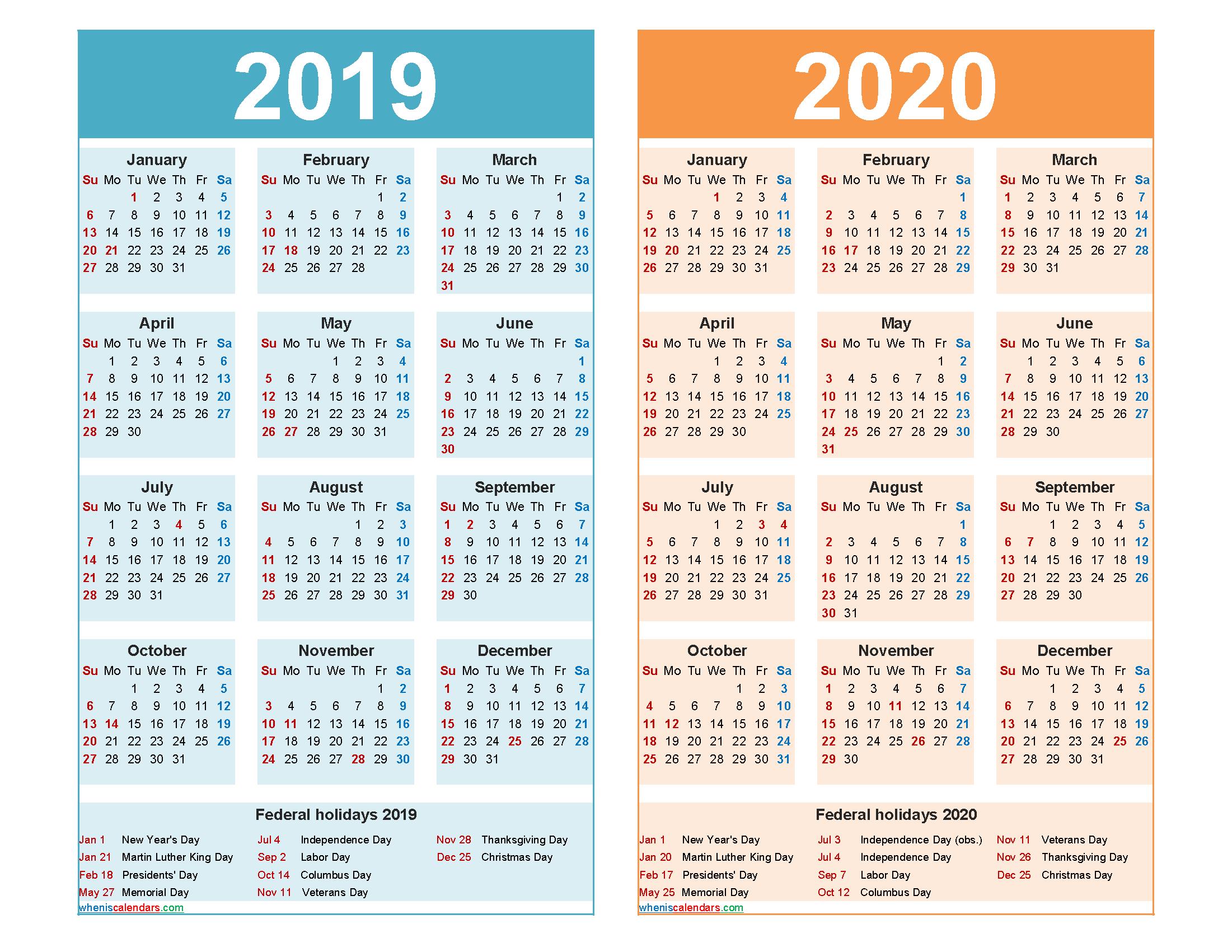 2019 and 2020 Calendar Printable with Holidays