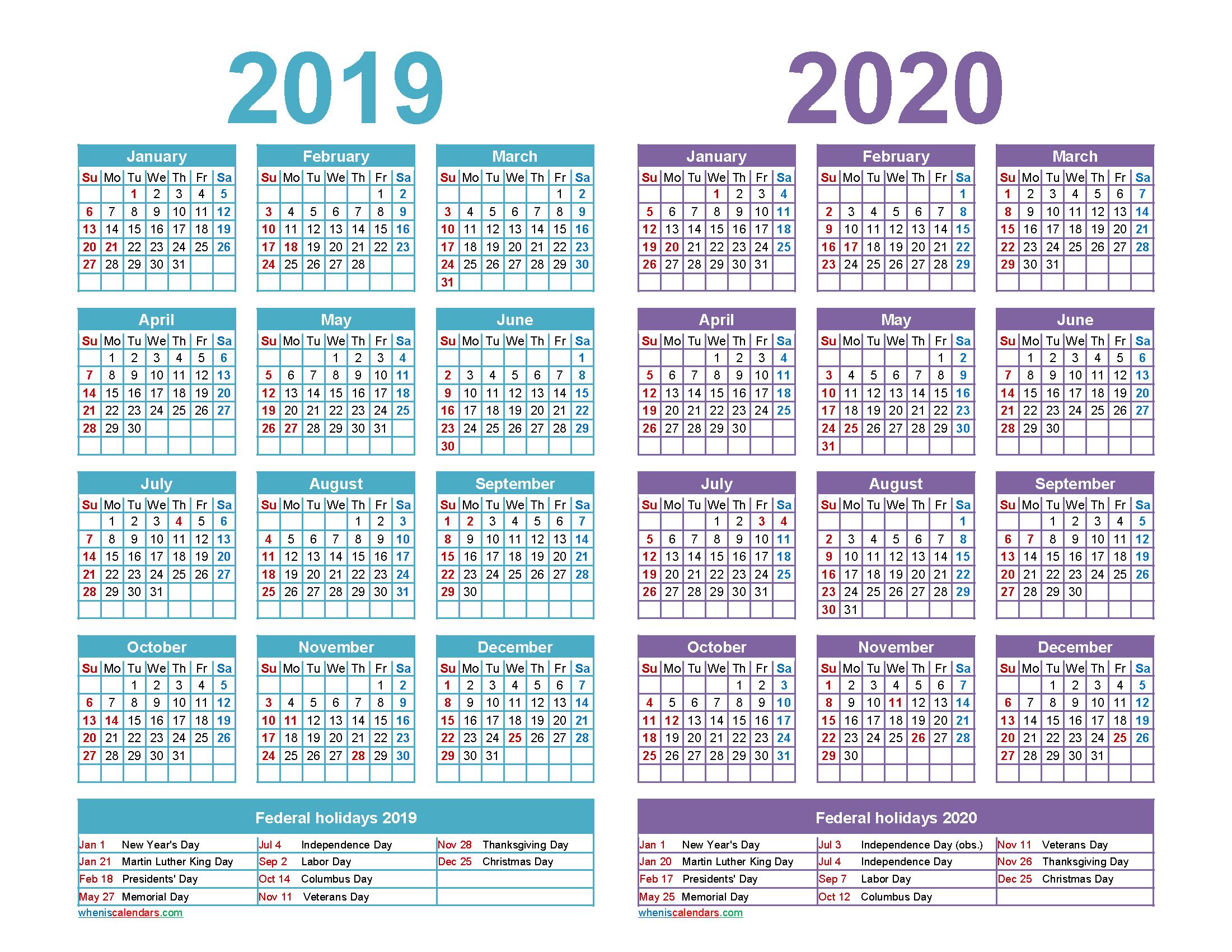 Free 2019 2020 Calendar Printable Word, PDF