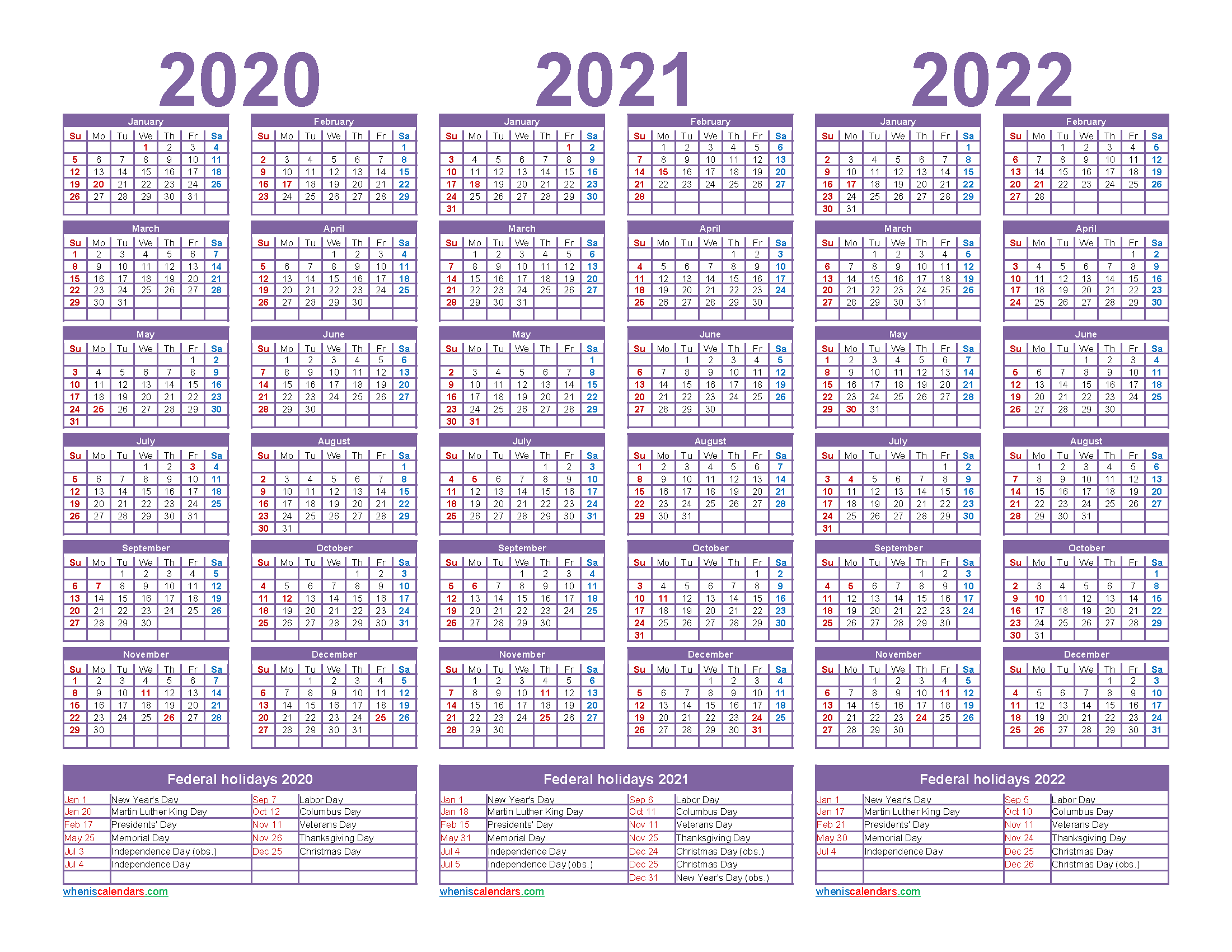 3 Year Calendar 2020 to 2022 Calendar with Holidays Printable