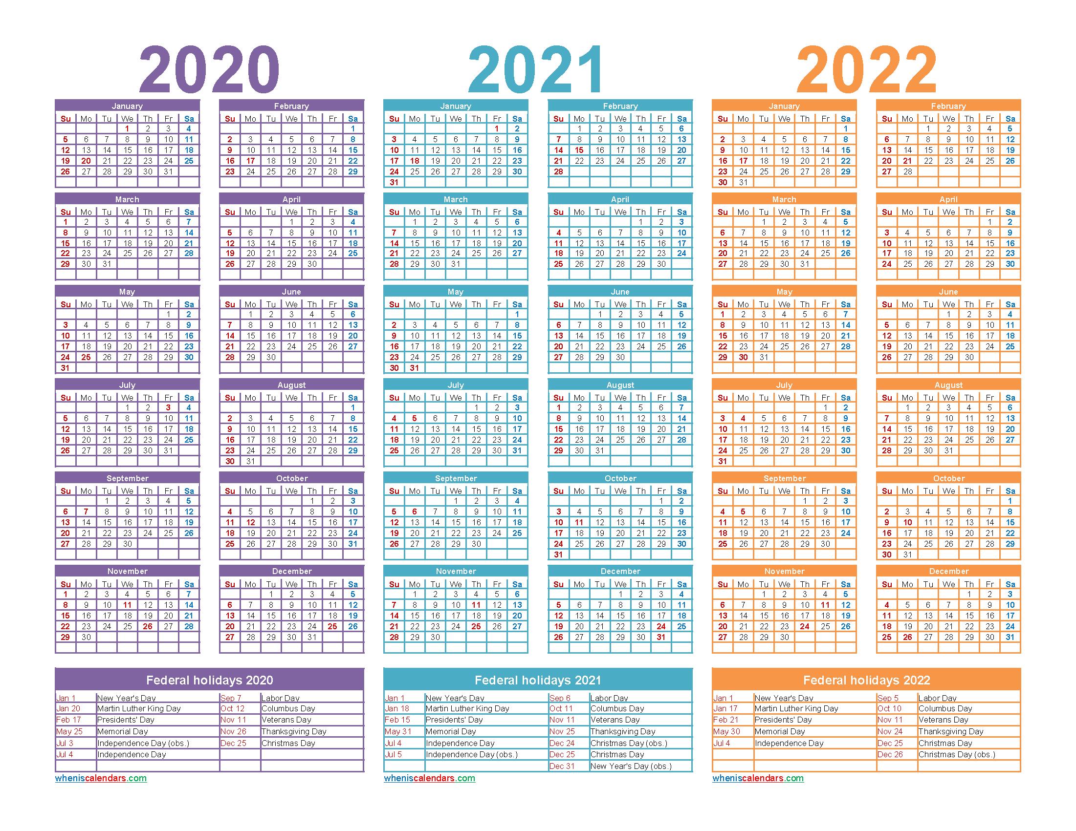 3 Year Calendar 2020 to 2022 Calendar with Holidays Printable