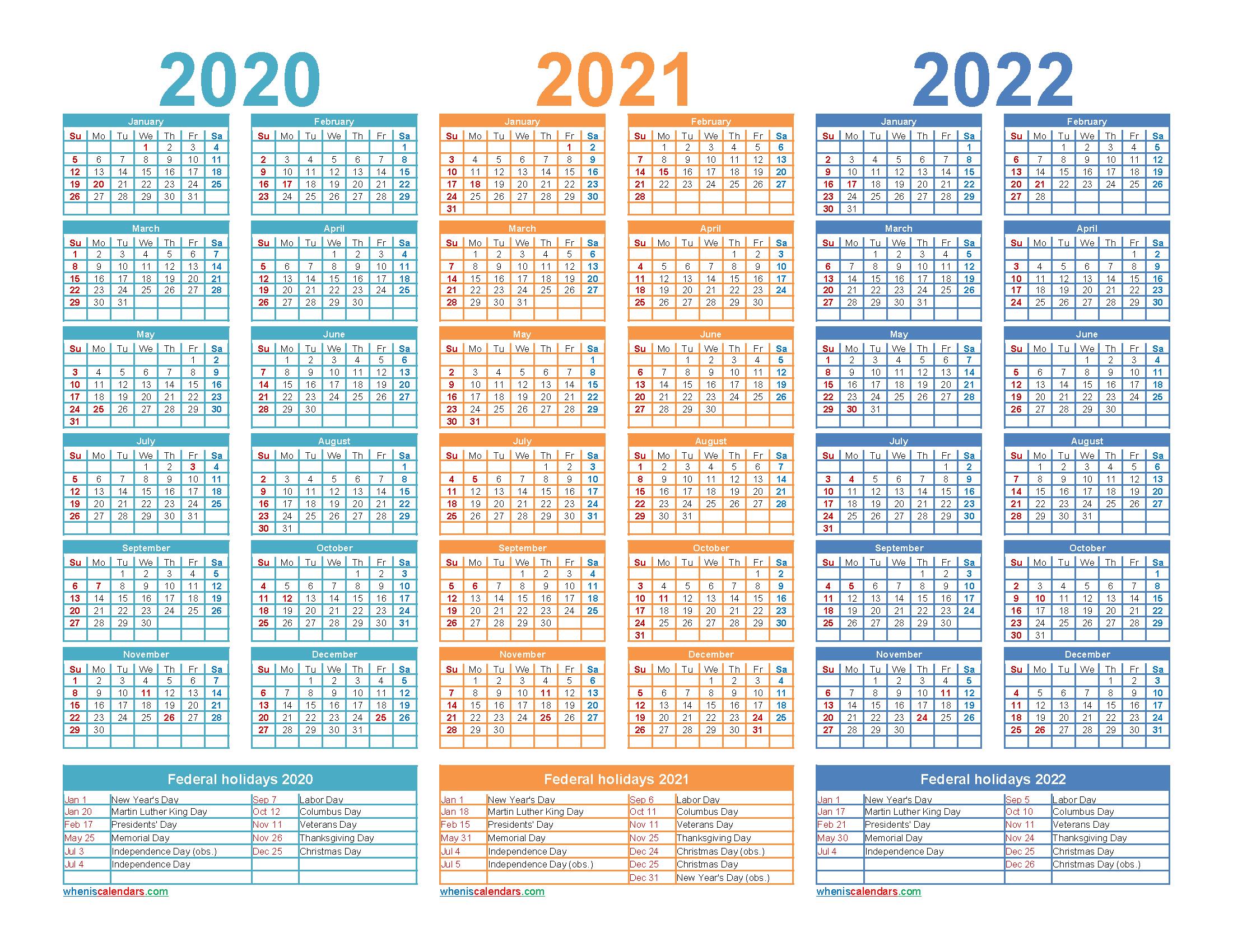 2020 2021 and 2022 Calendar with Holidays Printable