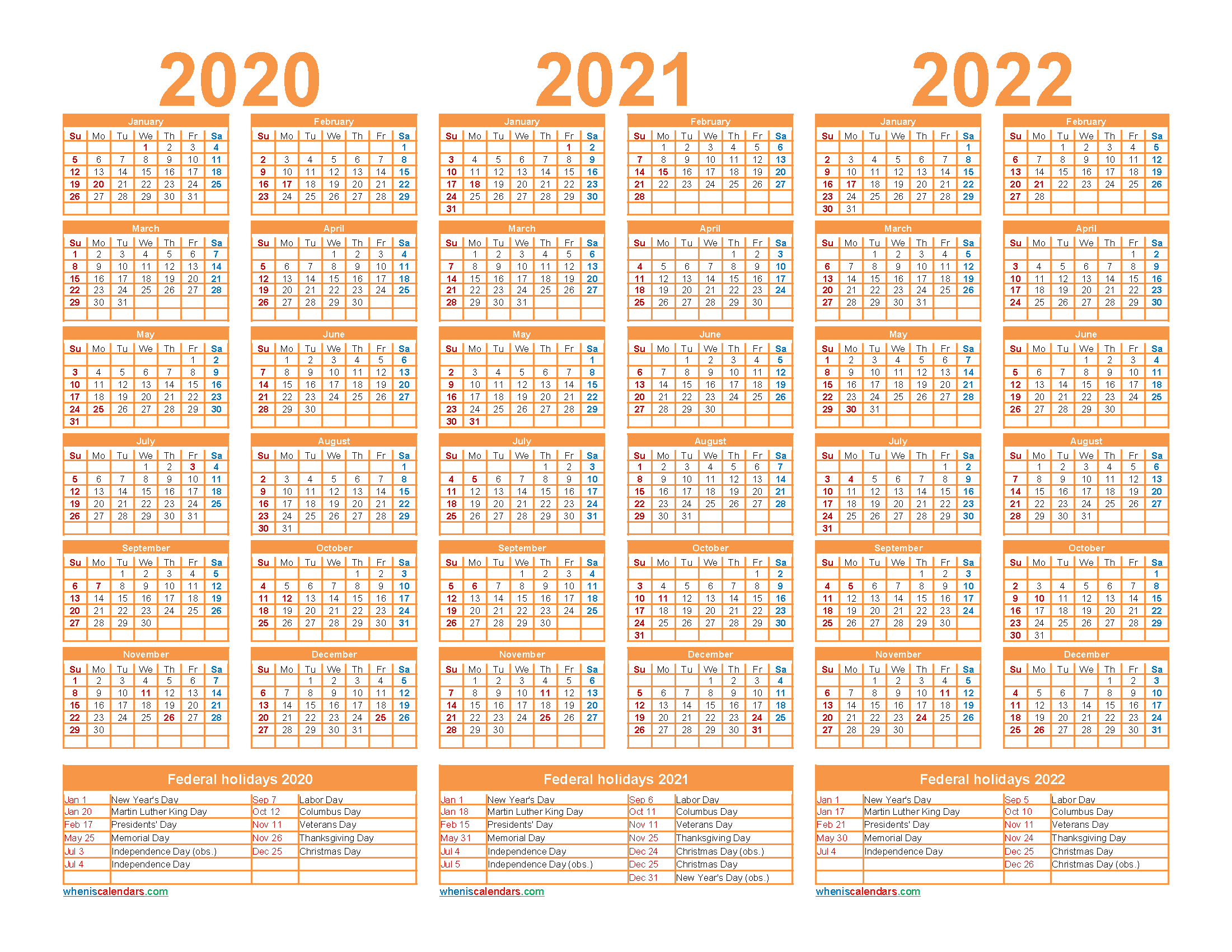 2020 and 2021 and 2022 Calendar with Holidays Word