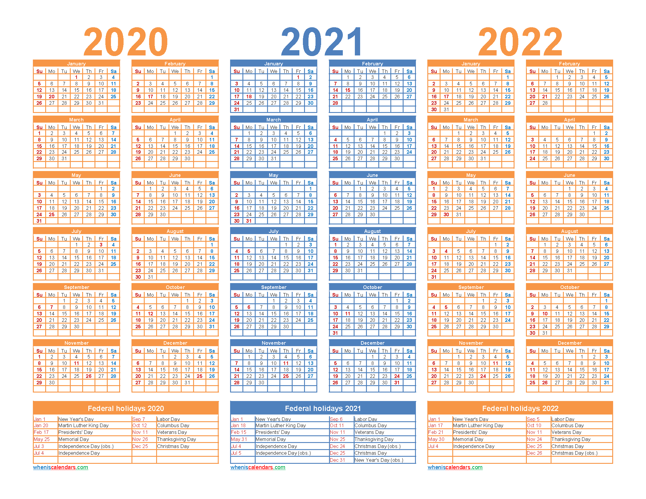 3 Year Calendar 2020 to 2022 Printable