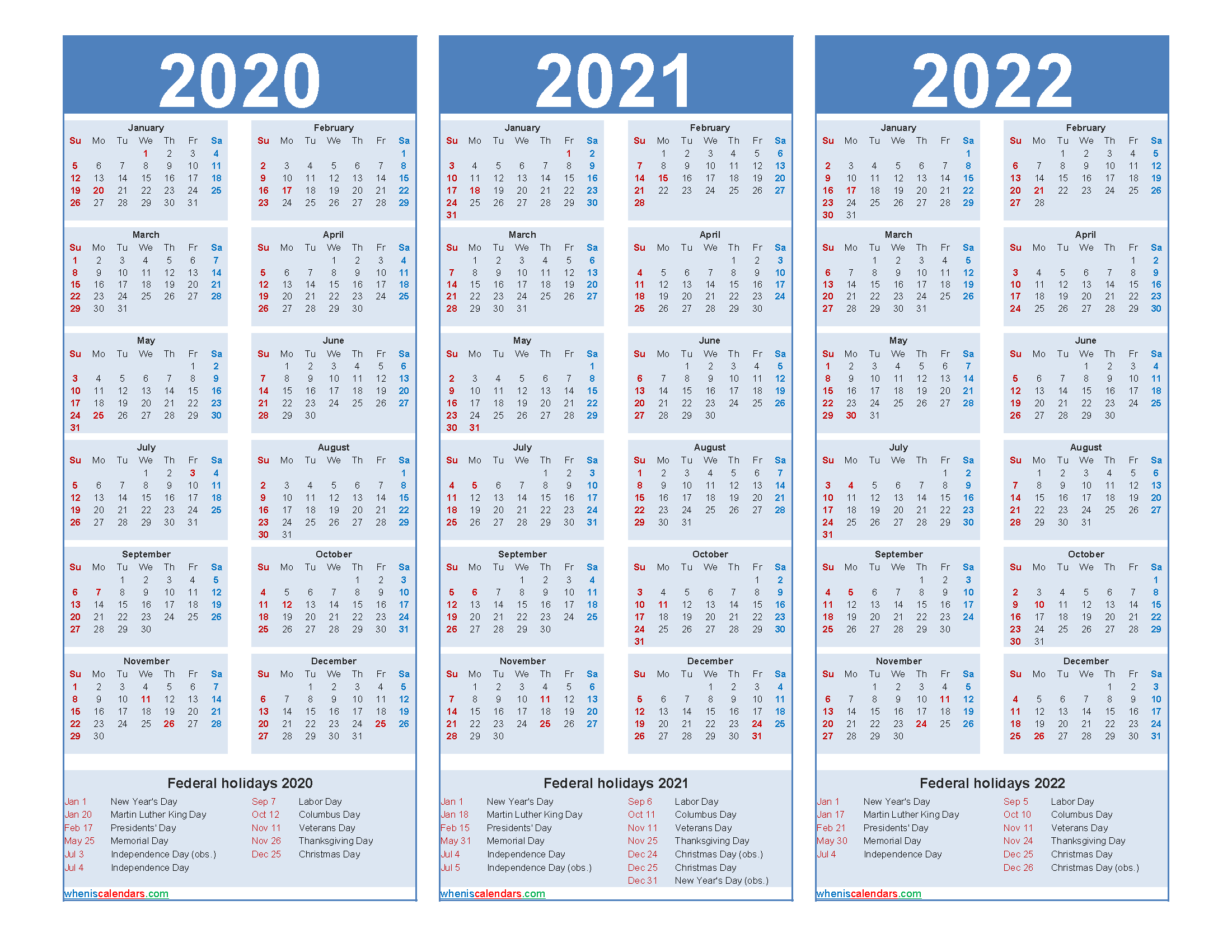 Printable Calendar for 2020 2021 and 2022 Word