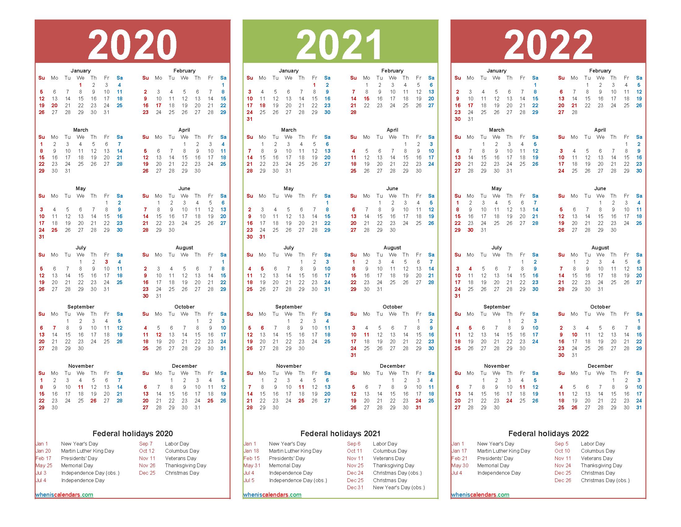 Three Year 2020 to 2022 Calendar Printable Word, PDF