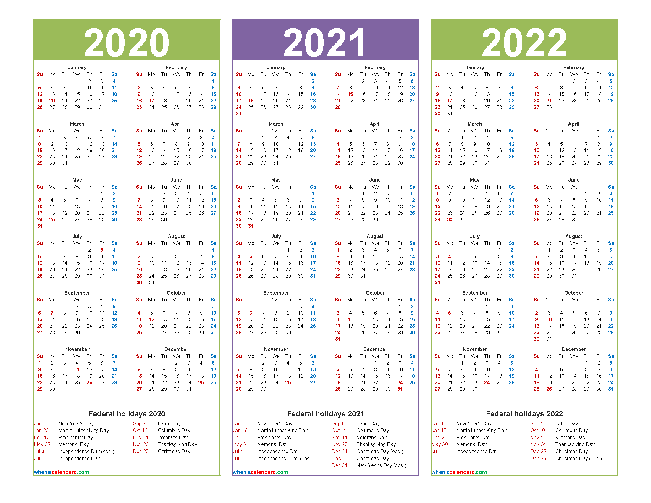Three Year 2020 to 2022 Calendar Printable Word, PDF