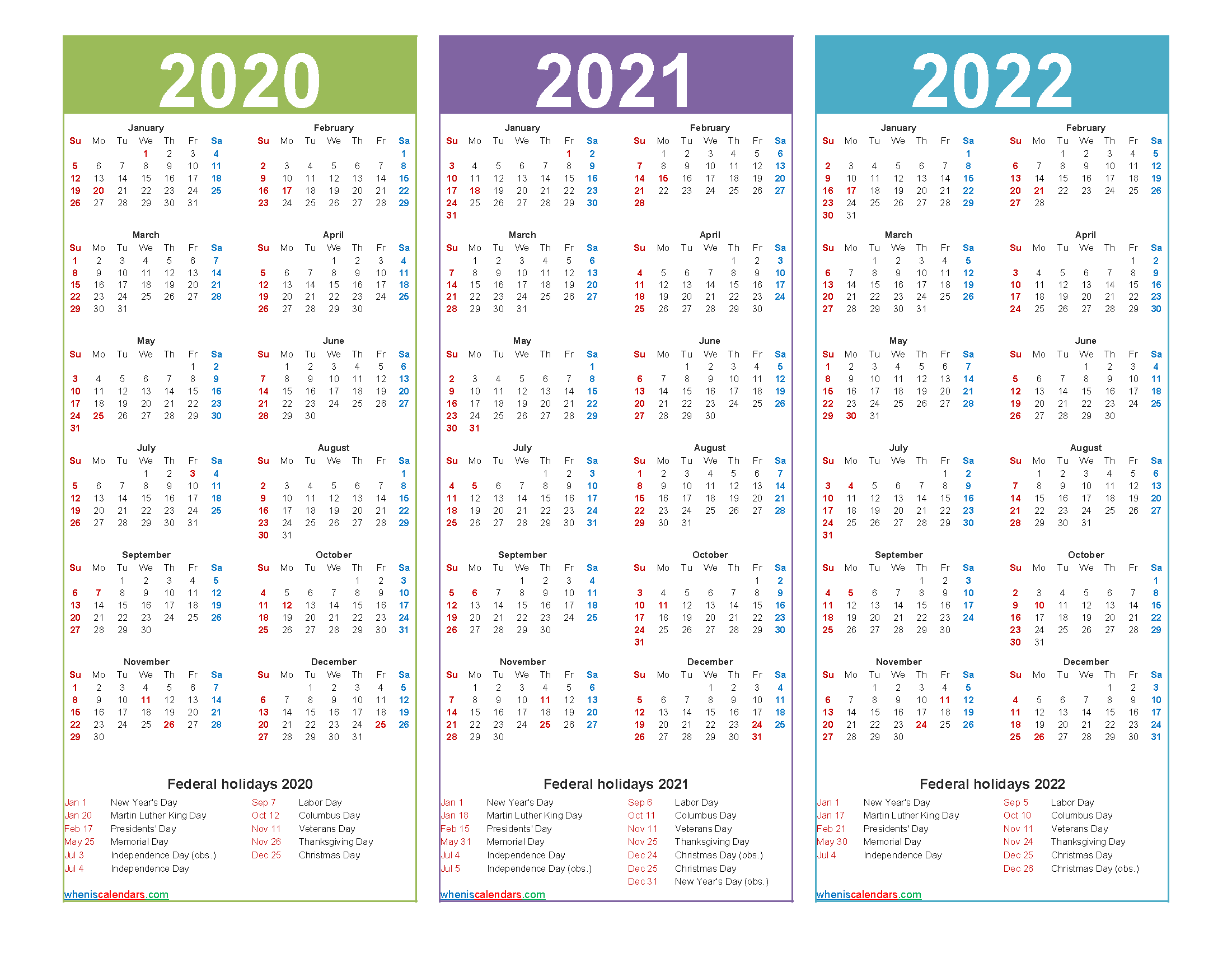 3 Year Planner 2020 to 2022 Calendar with Holidays Word