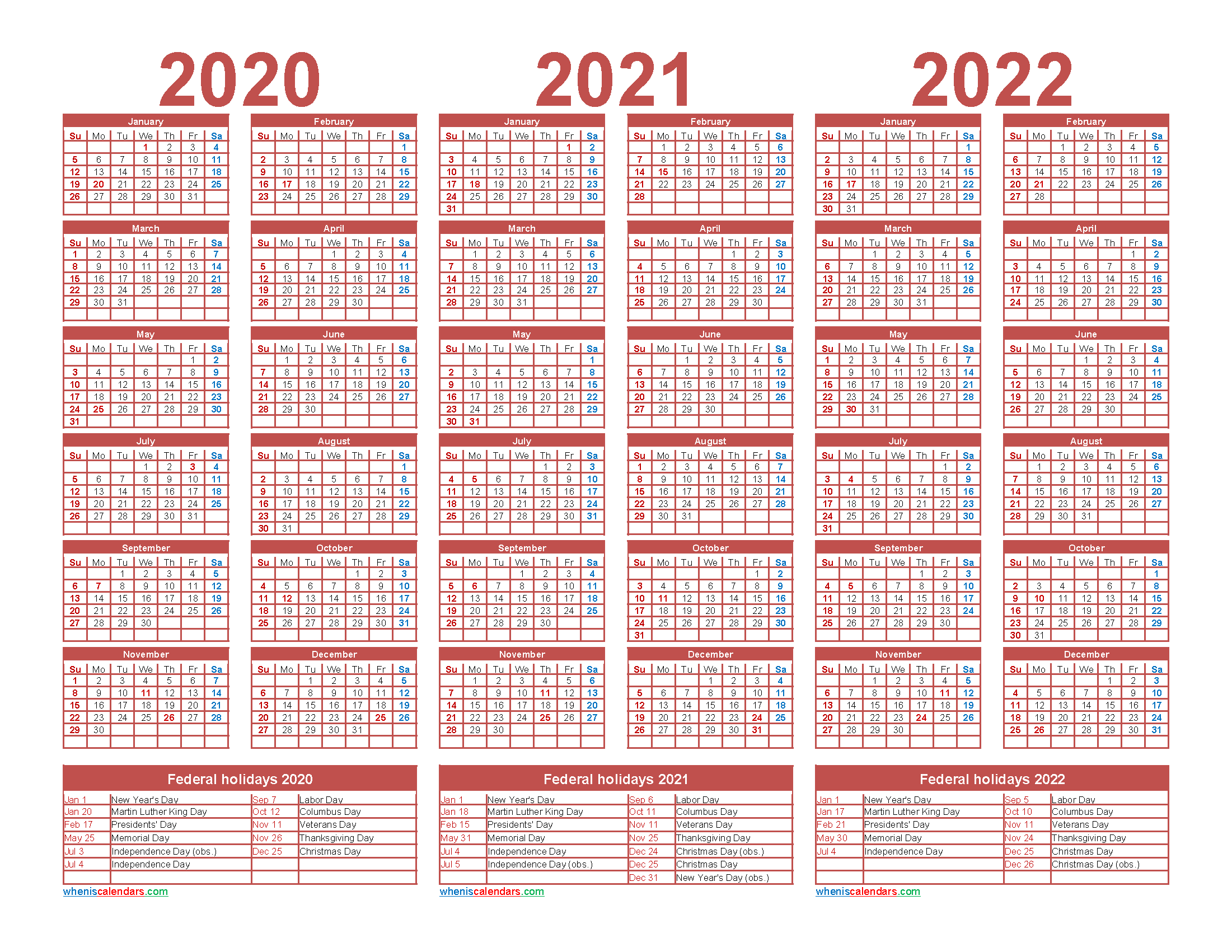 2020 2021 and 2022 Calendar with Holidays Printable