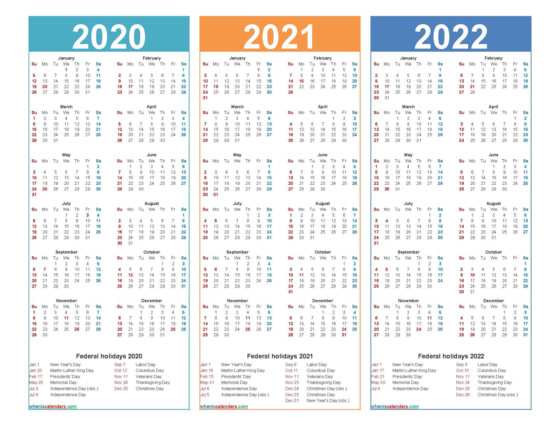 2020 2021 2022 Calendar with Holidays Printable Word