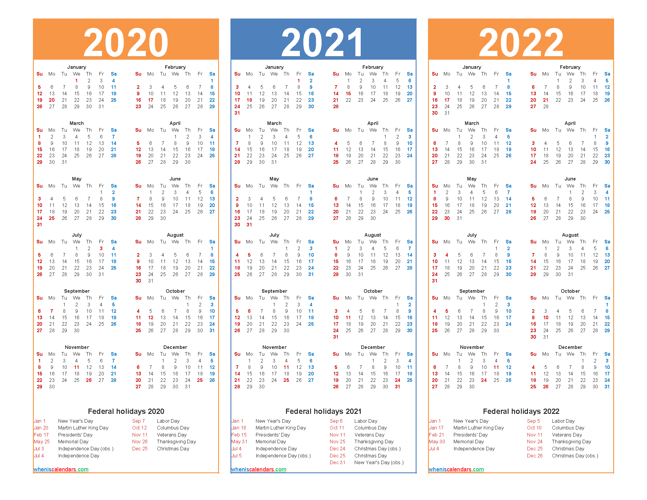 Printable Calendar 2020 2021 2022 with Holidays - Free ...