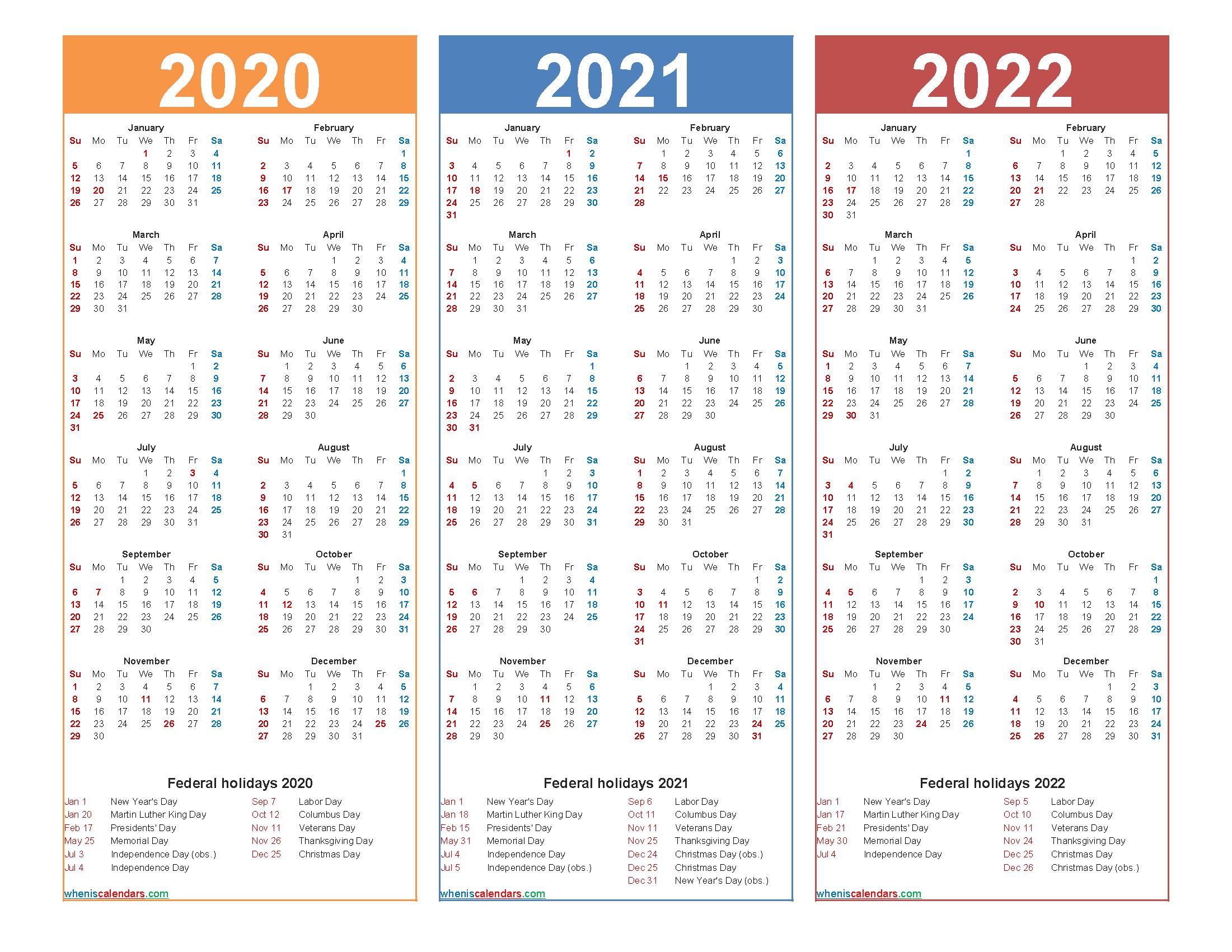 Printable Calendar for 2020 2021 and 2022 Word