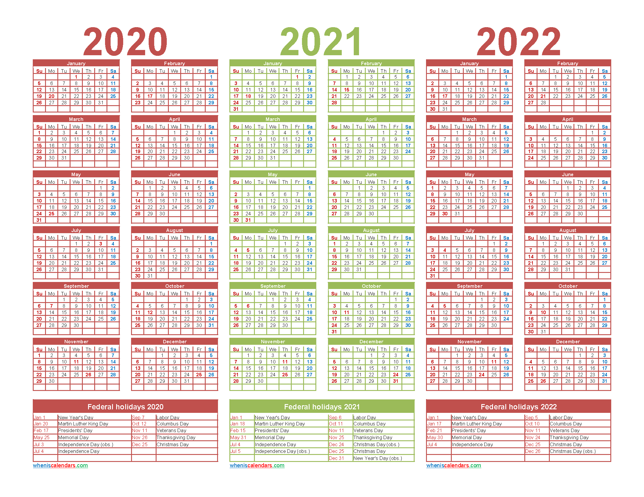 2020 and 2021 and 2022 Calendar with Holidays Word - Free ...