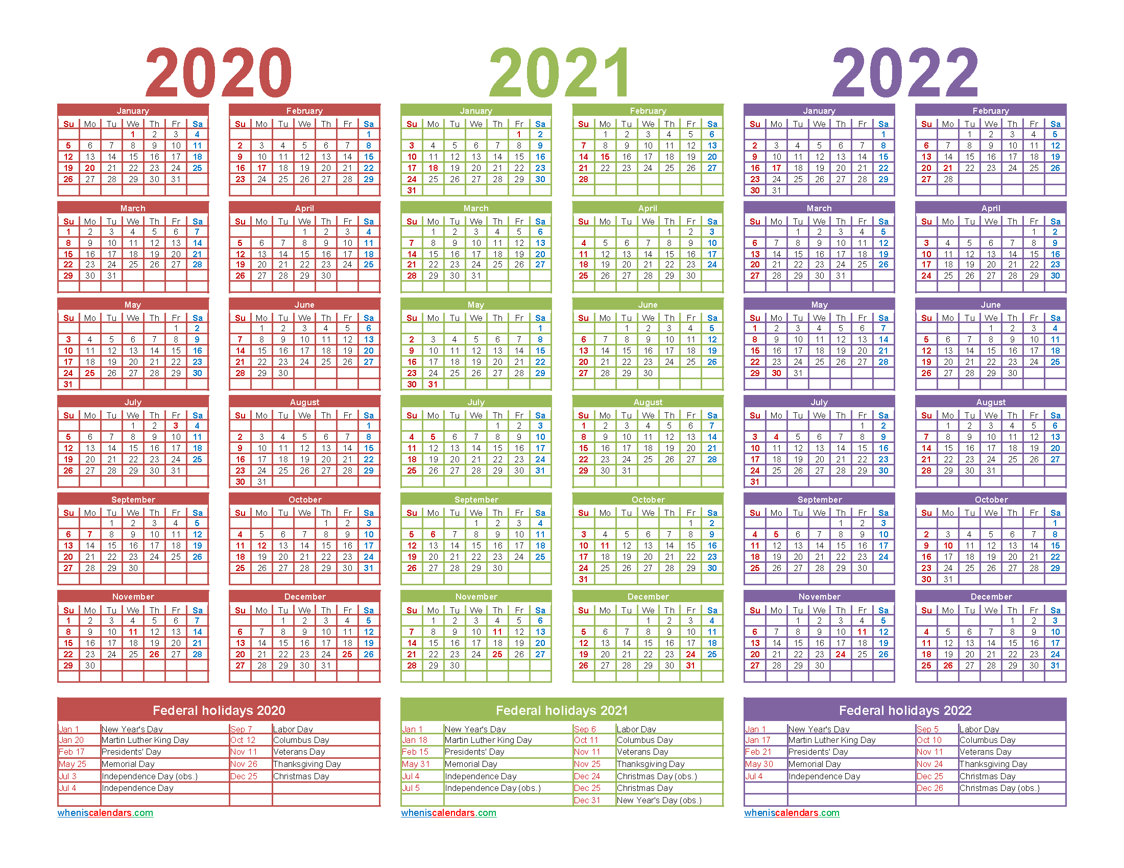 3 Year Calendar 2020 To 2022 Printable Free Printable 2020 Monthly Calendar With Holidays