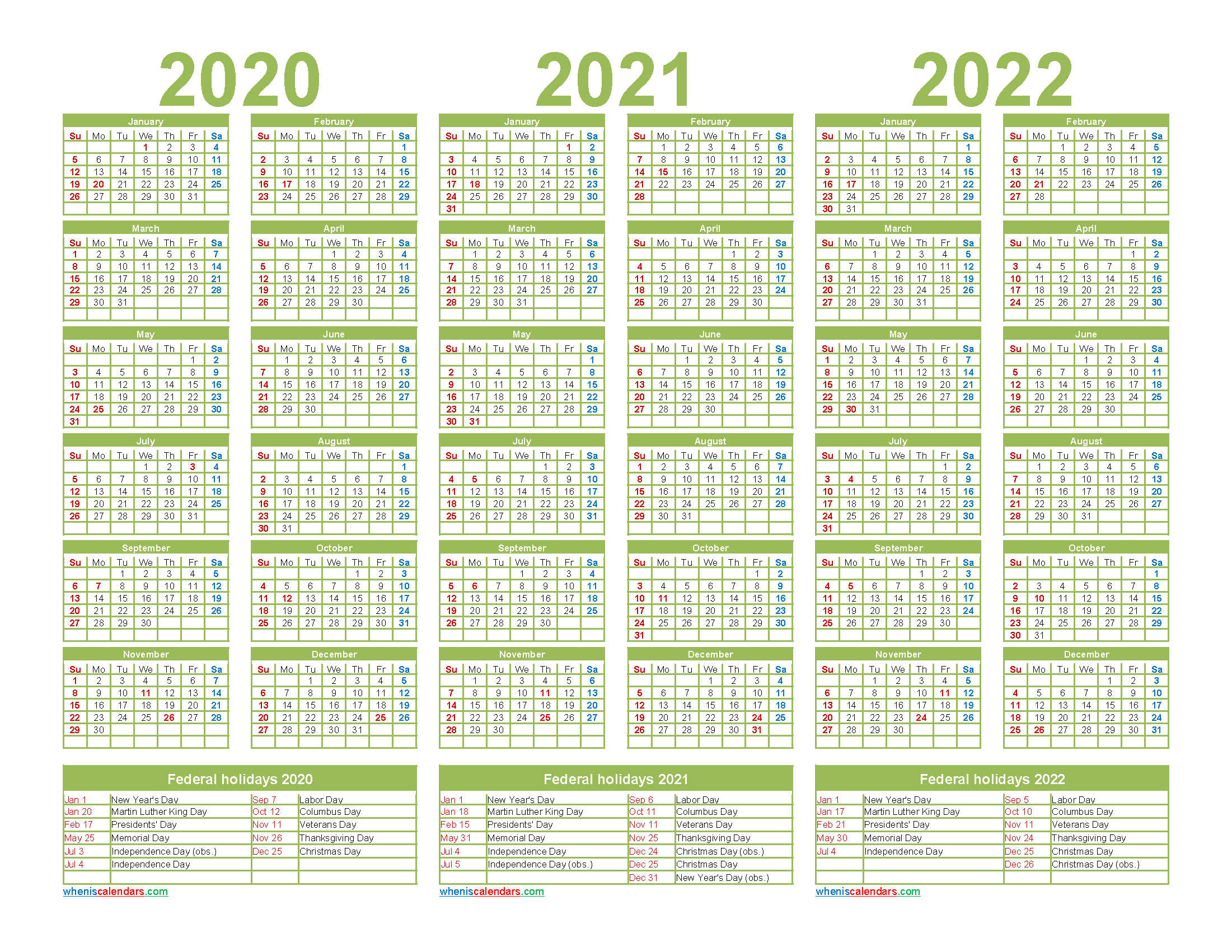 2020 2021 2022 Calendar with Holidays Printable Word ...