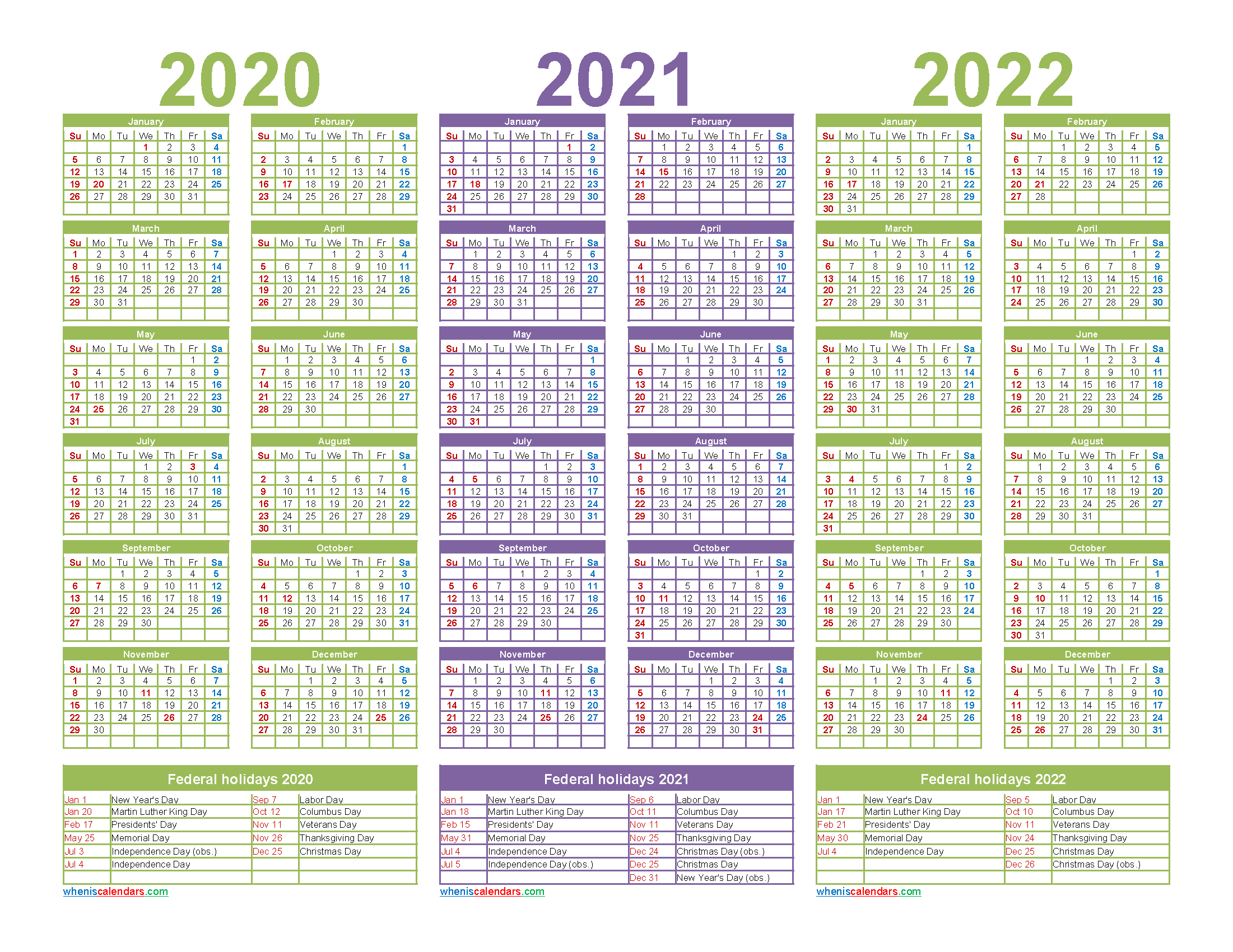 Printable Calendar 2020 2021 2022 with Holidays