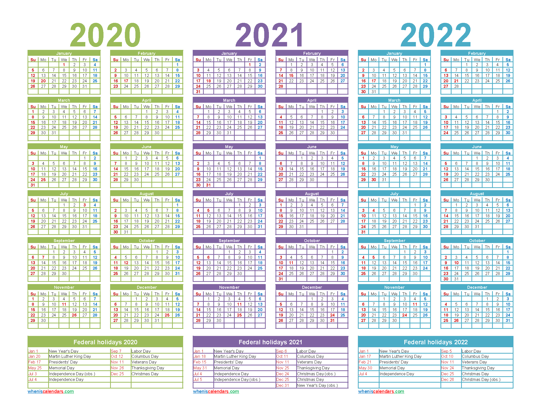 Printable Calendar for 2020 2021 and 2022 Word - Free ...