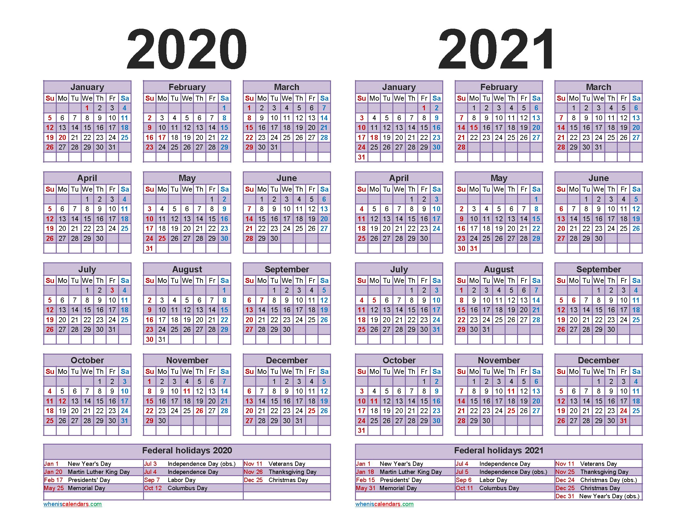 Free 2020 and 2021 Calendar Printable Word, PDF | Free ...