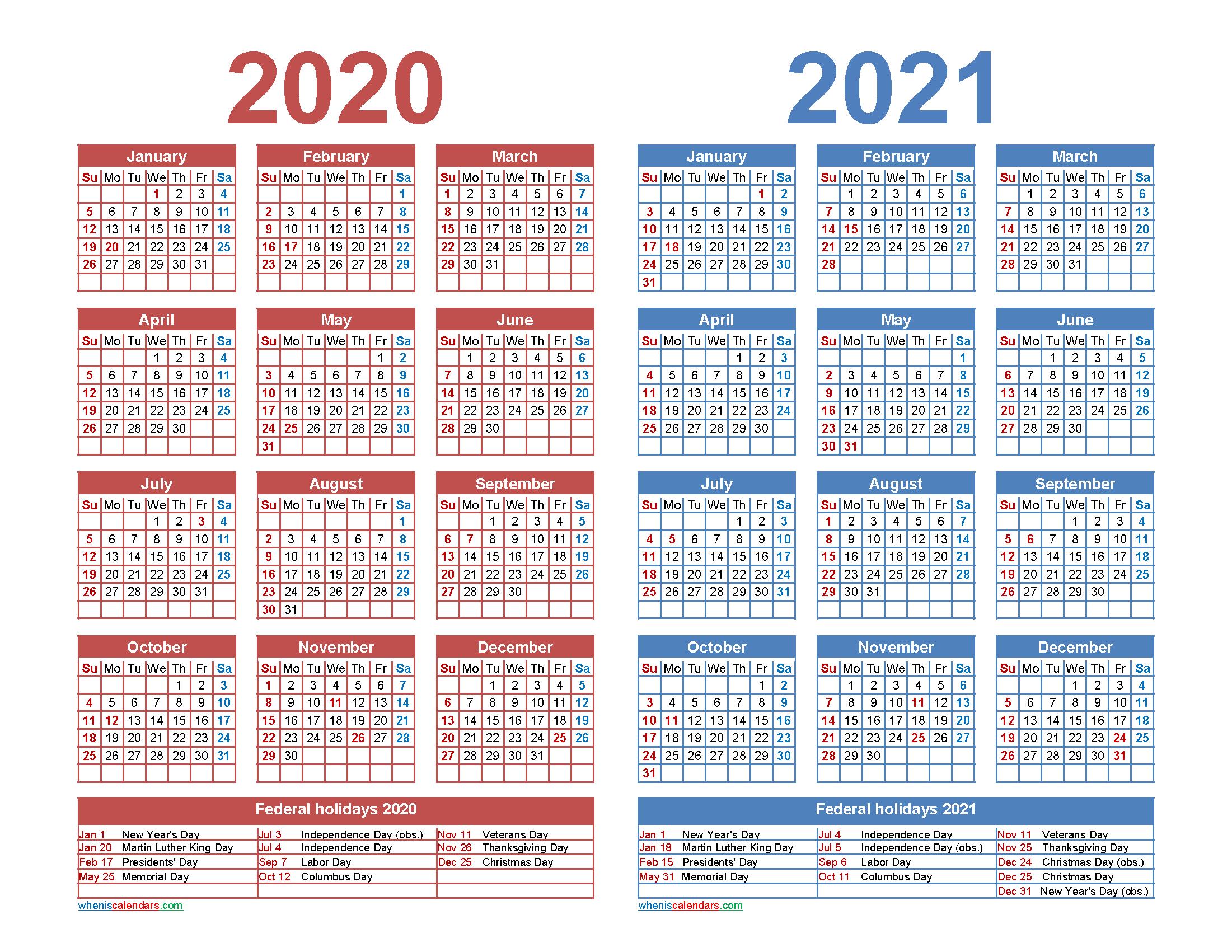 Free 2020 and 2021 Calendar Printable Word, PDF