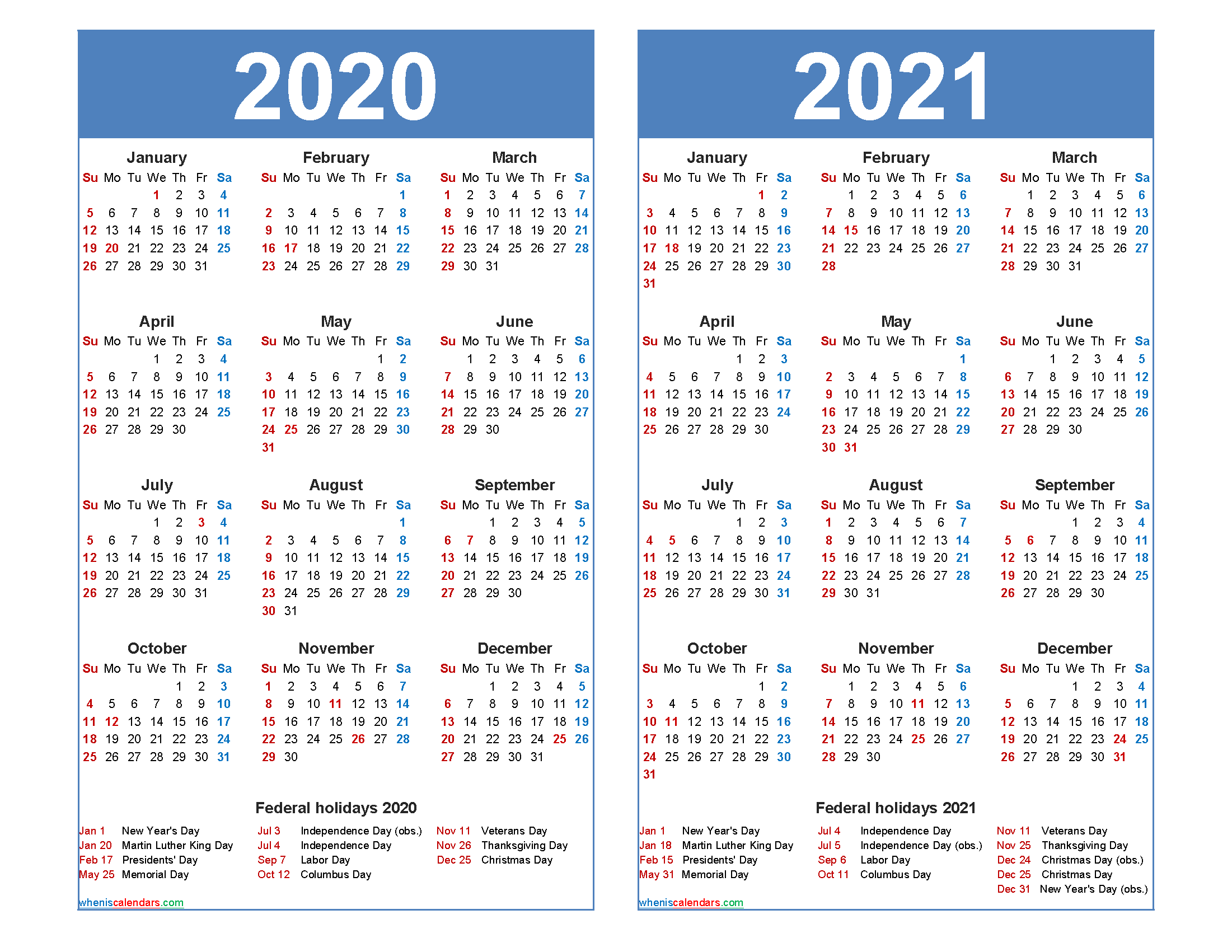 Free 2020 2021 Calendar Printable with Holidays - Free ...