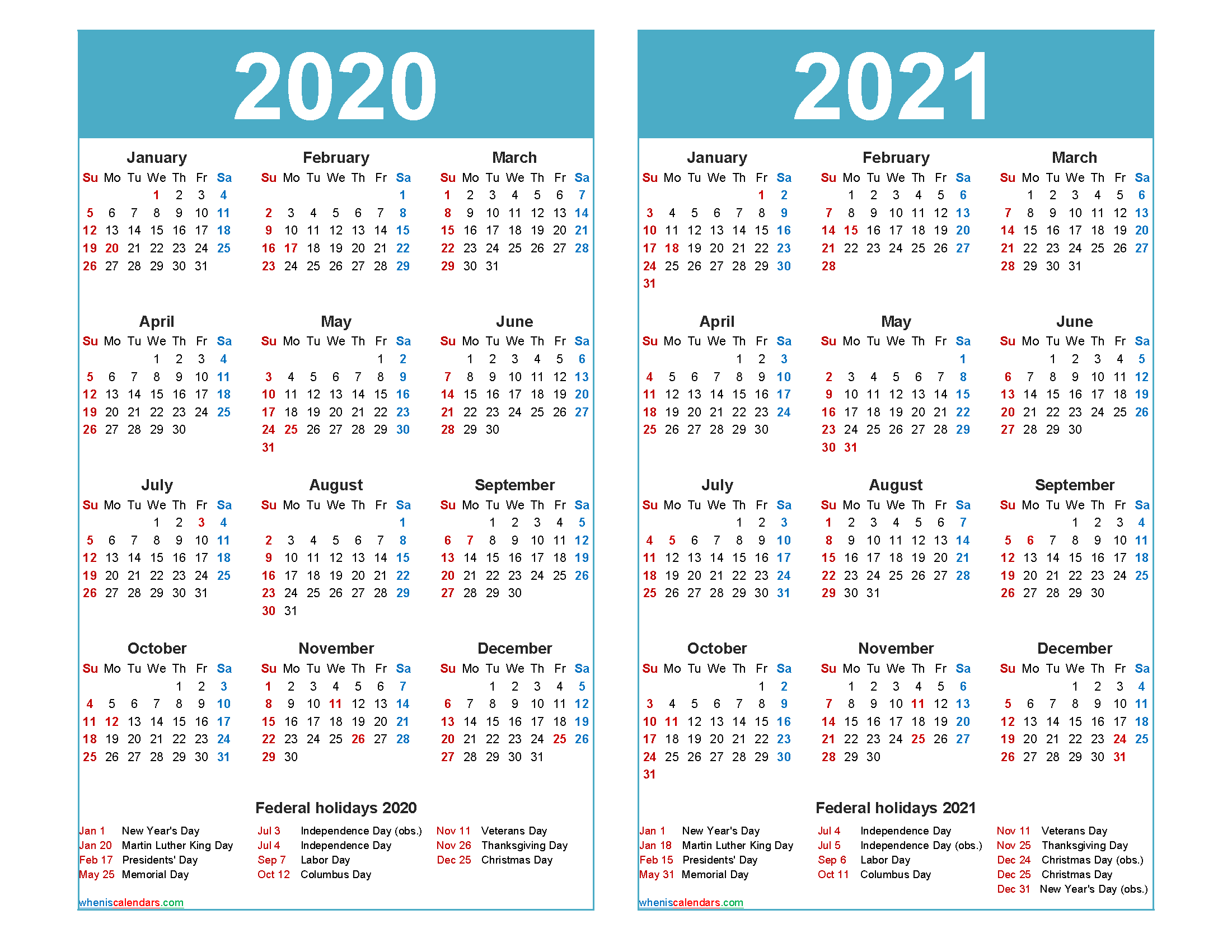 Free 2020 2021 Calendar Printable with Holidays