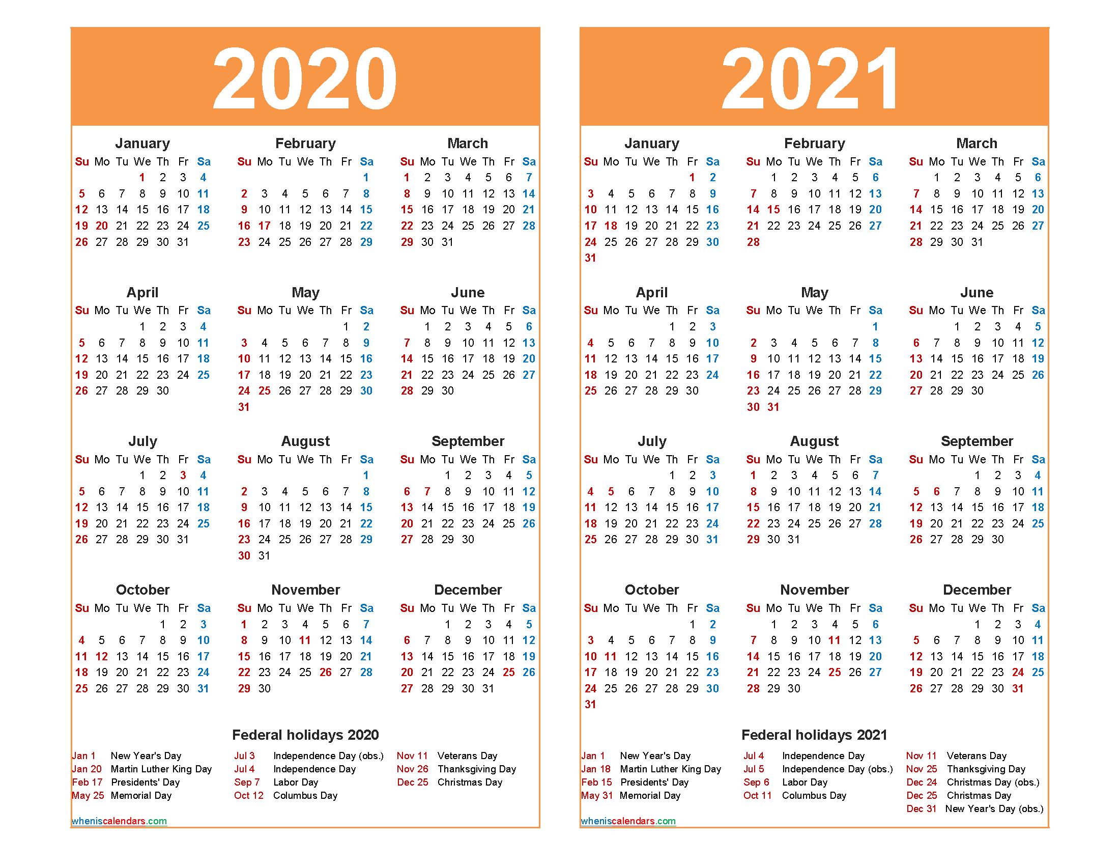 2020 and 2021 Calendar Printable Word, PDF | Free ...
