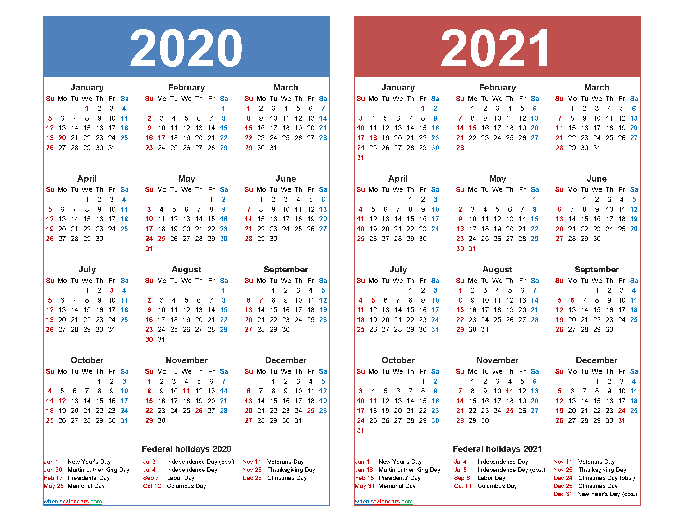 2020 and 2021 Calendar Printable with Holidays - Free ...
