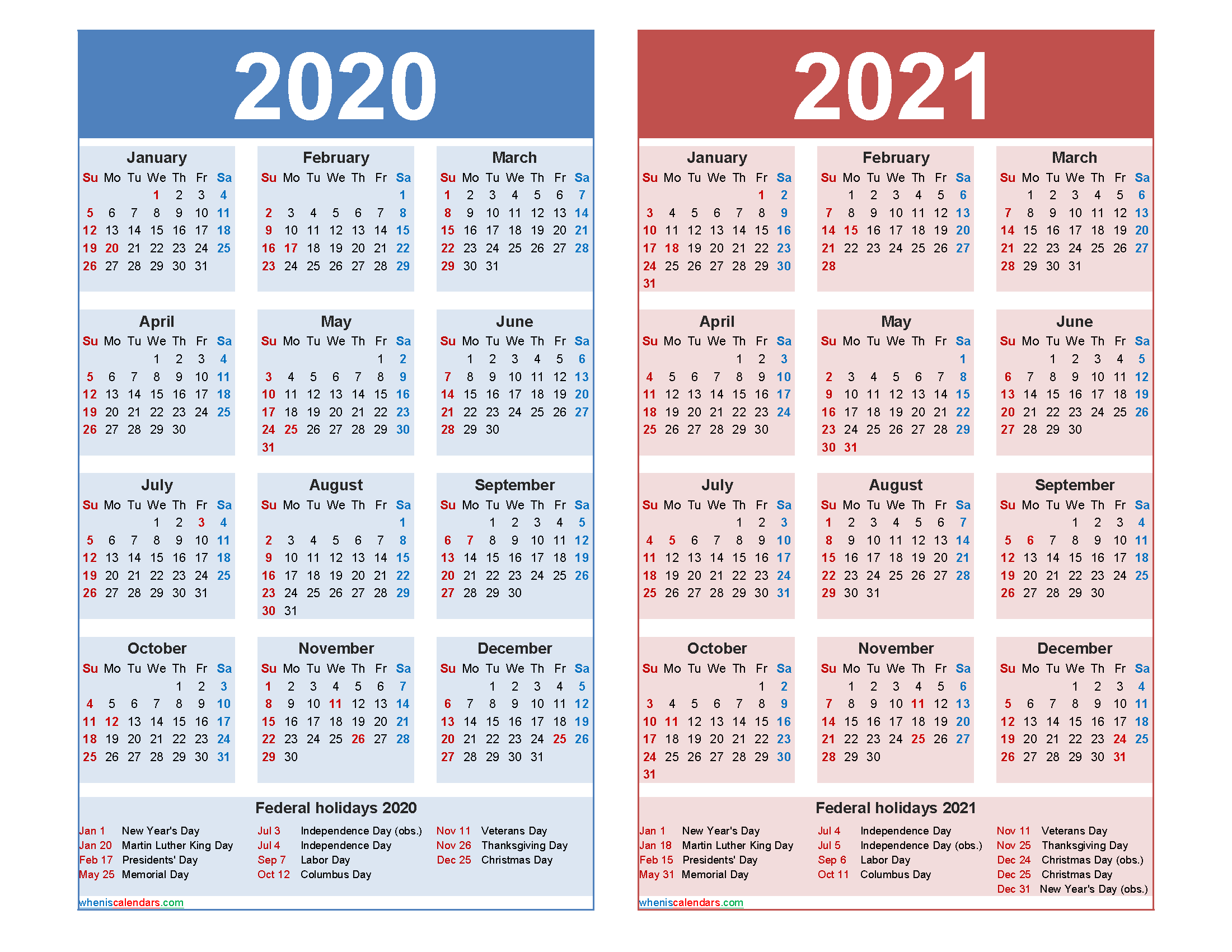 Free 2020 2021 Calendar Printable with Holidays