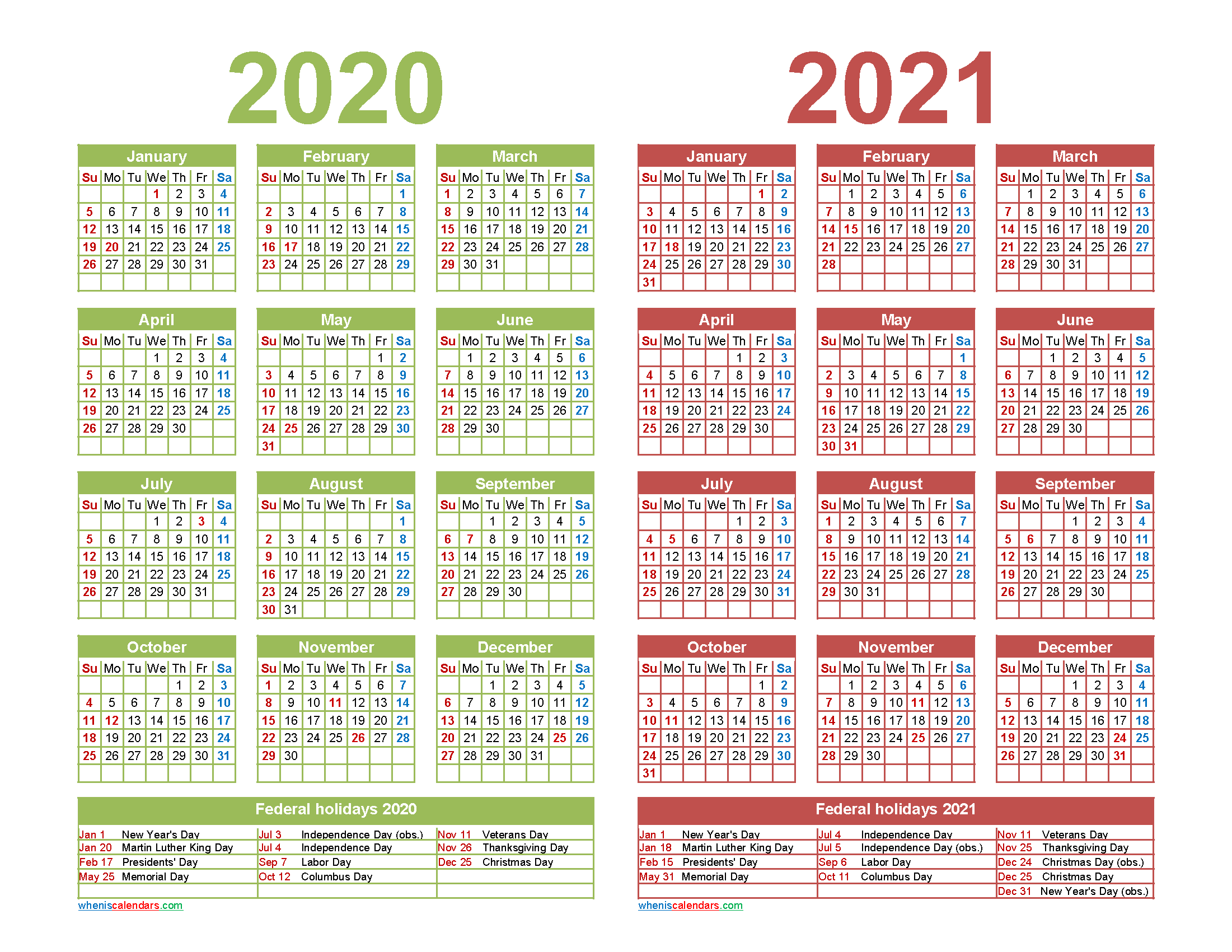 Free 2020 and 2021 Calendar Printable with Holidays