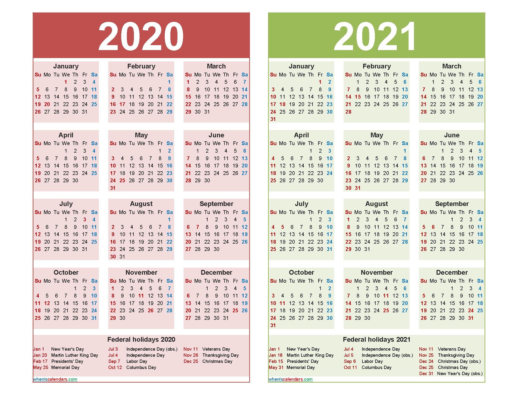 Free 2020 2021 Calendar Printable Word, PDF