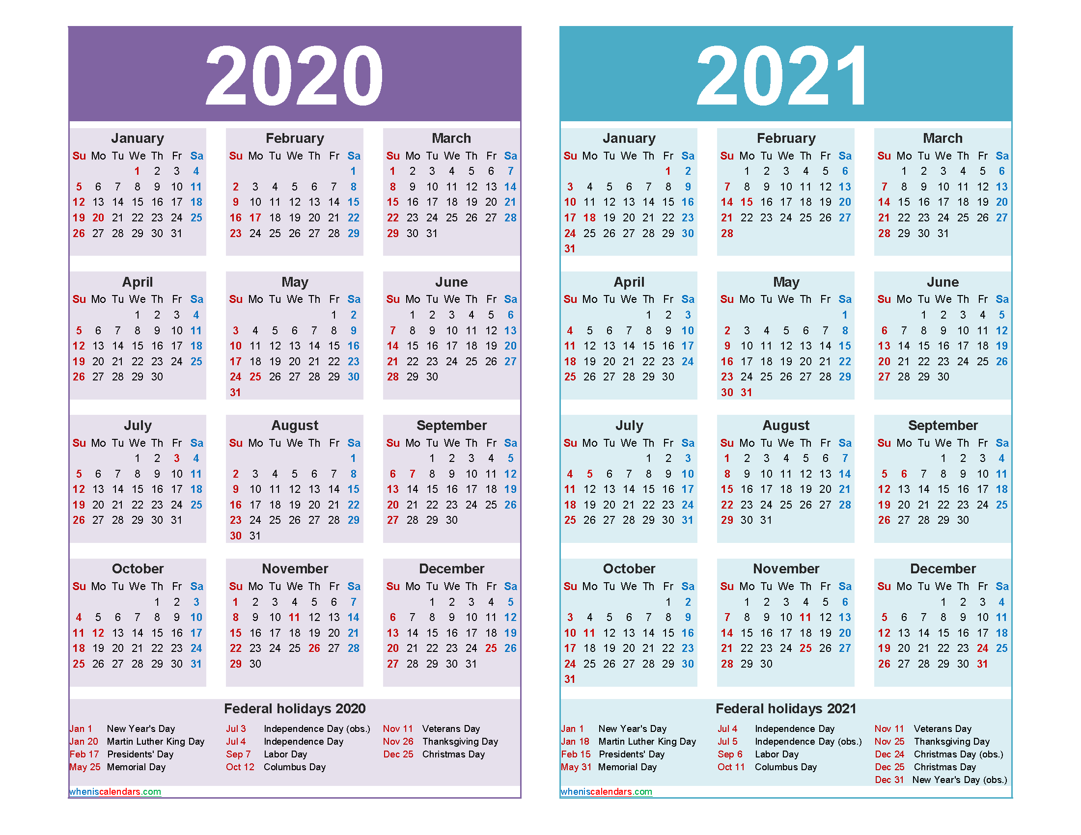 Free 2020 and 2021 Calendar Printable Word, PDF