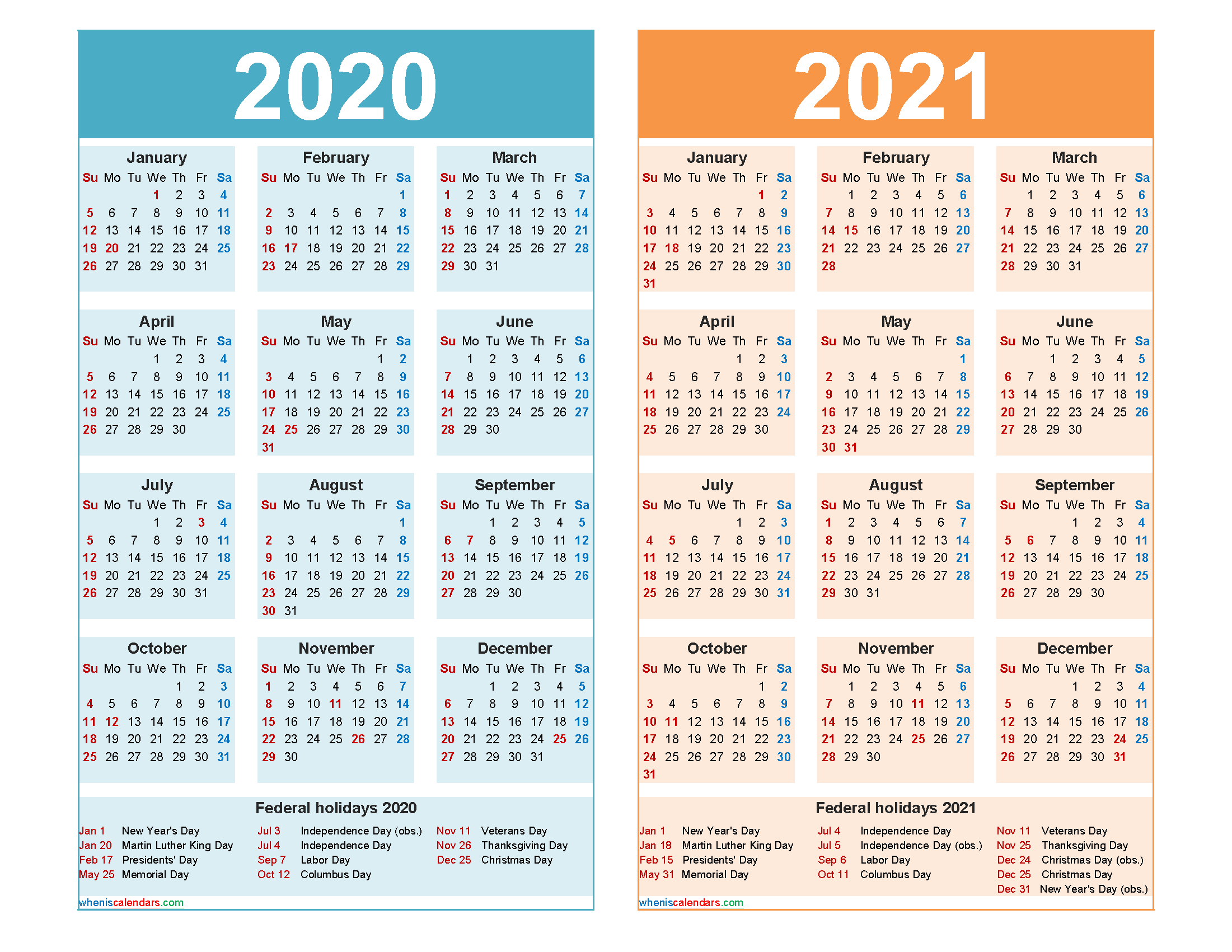 2020 and 2021 Calendar Printable with Holidays - Free ...