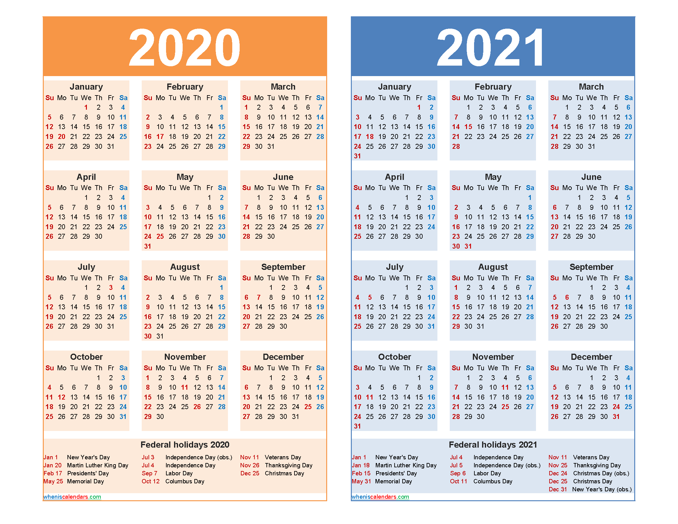 Free 2020 and 2021 Calendar Printable with Holidays | Free ...