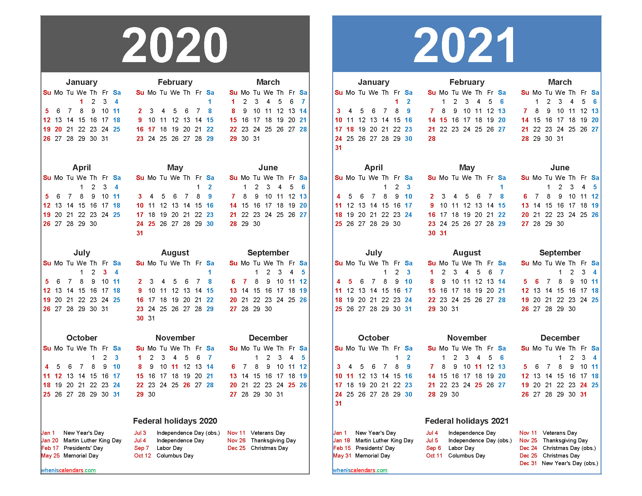 2020 and 2021 Calendar Printable Word, PDF - Free ...