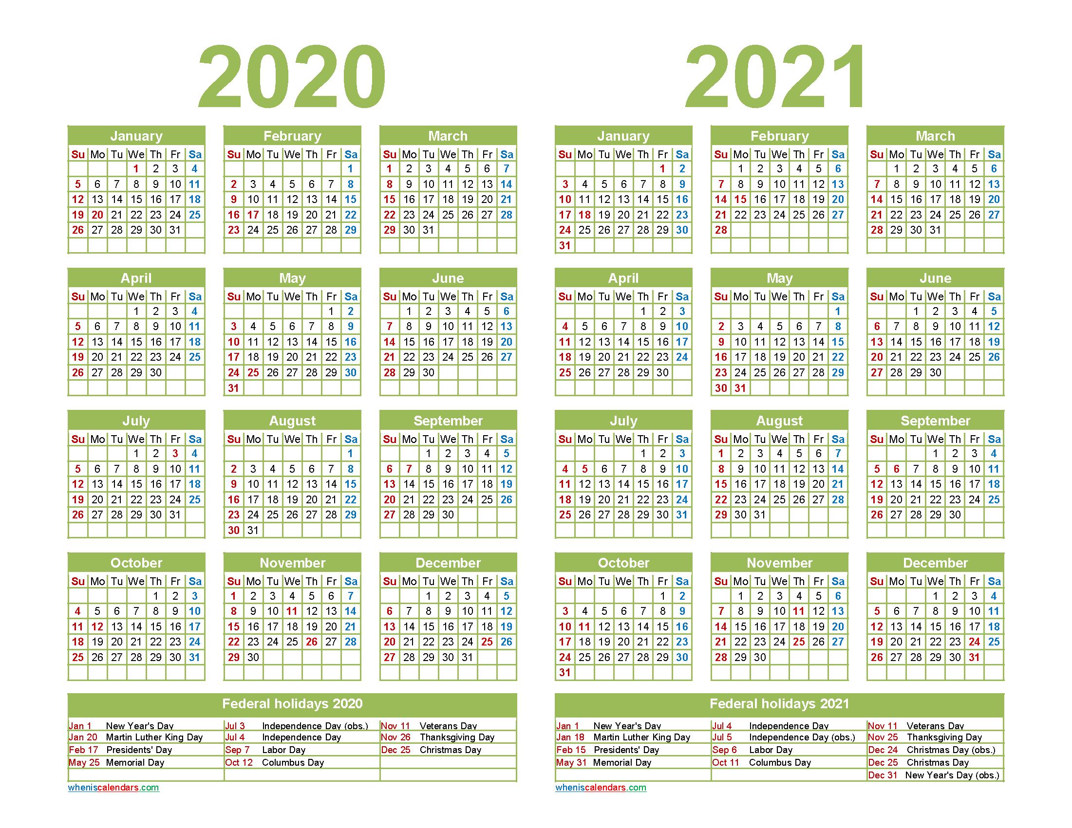 2020 and 2021 Calendar Printable with Holidays Word, PDF ...