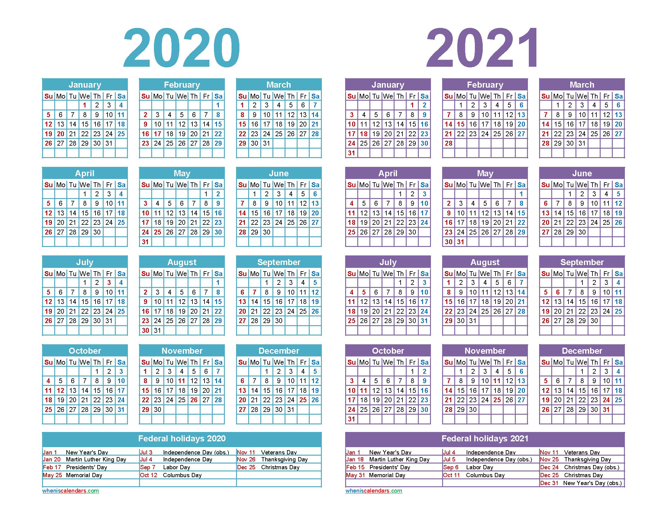 Free 2020 2021 Calendar Printable Word, PDF | Free ...