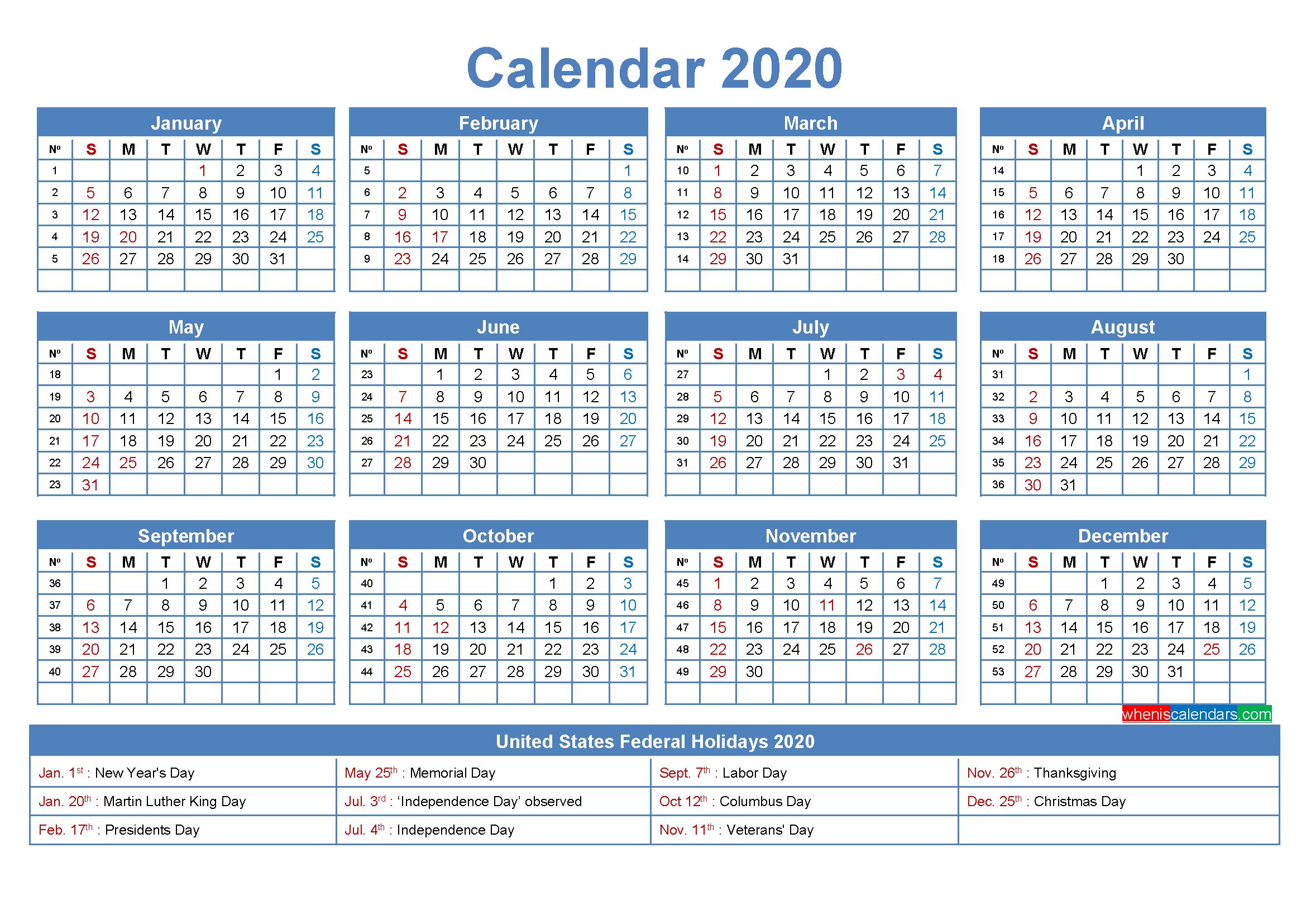 Printable Editable Calendar 2020