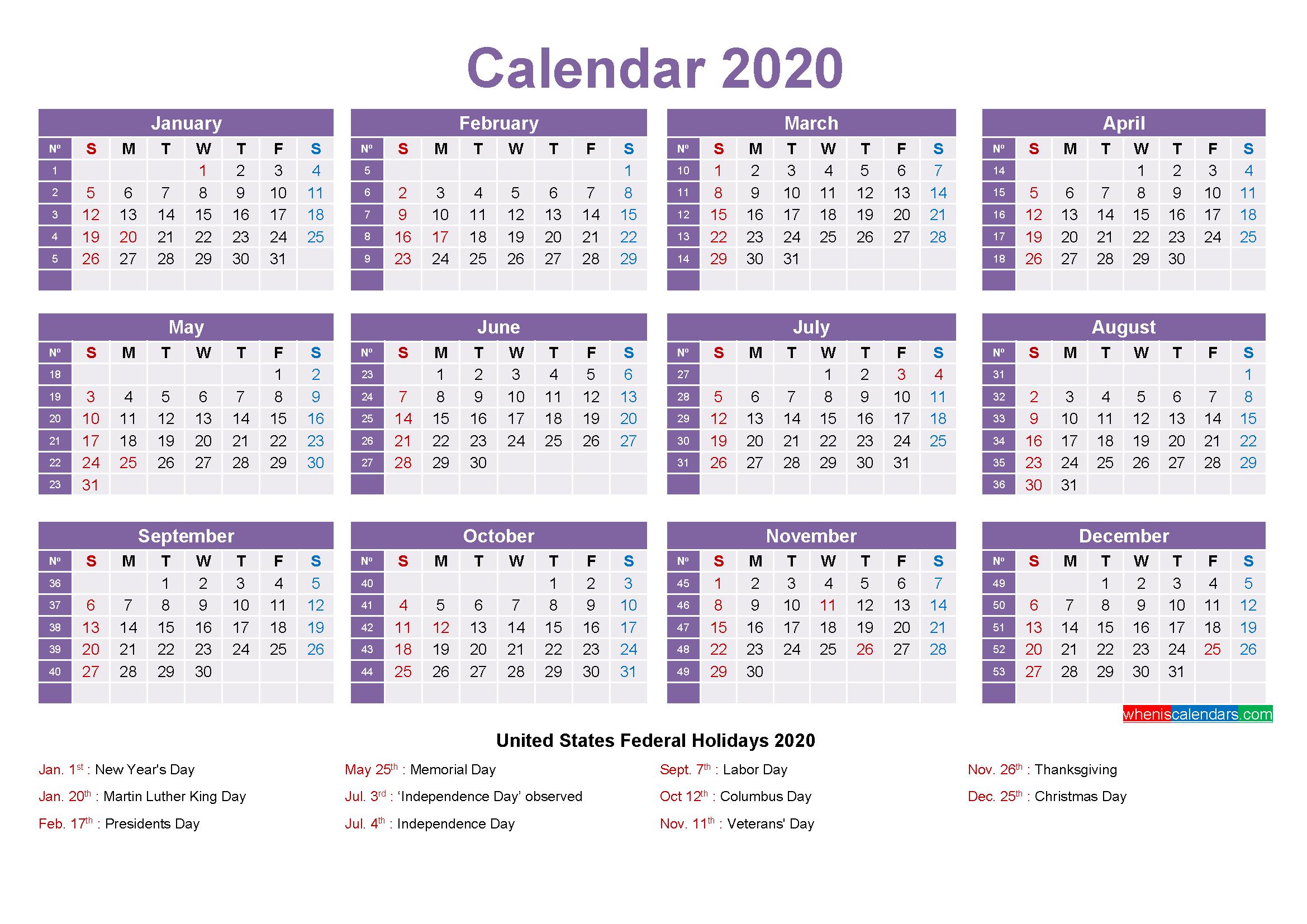 Mini Desk Calendar 2020 Free Printable