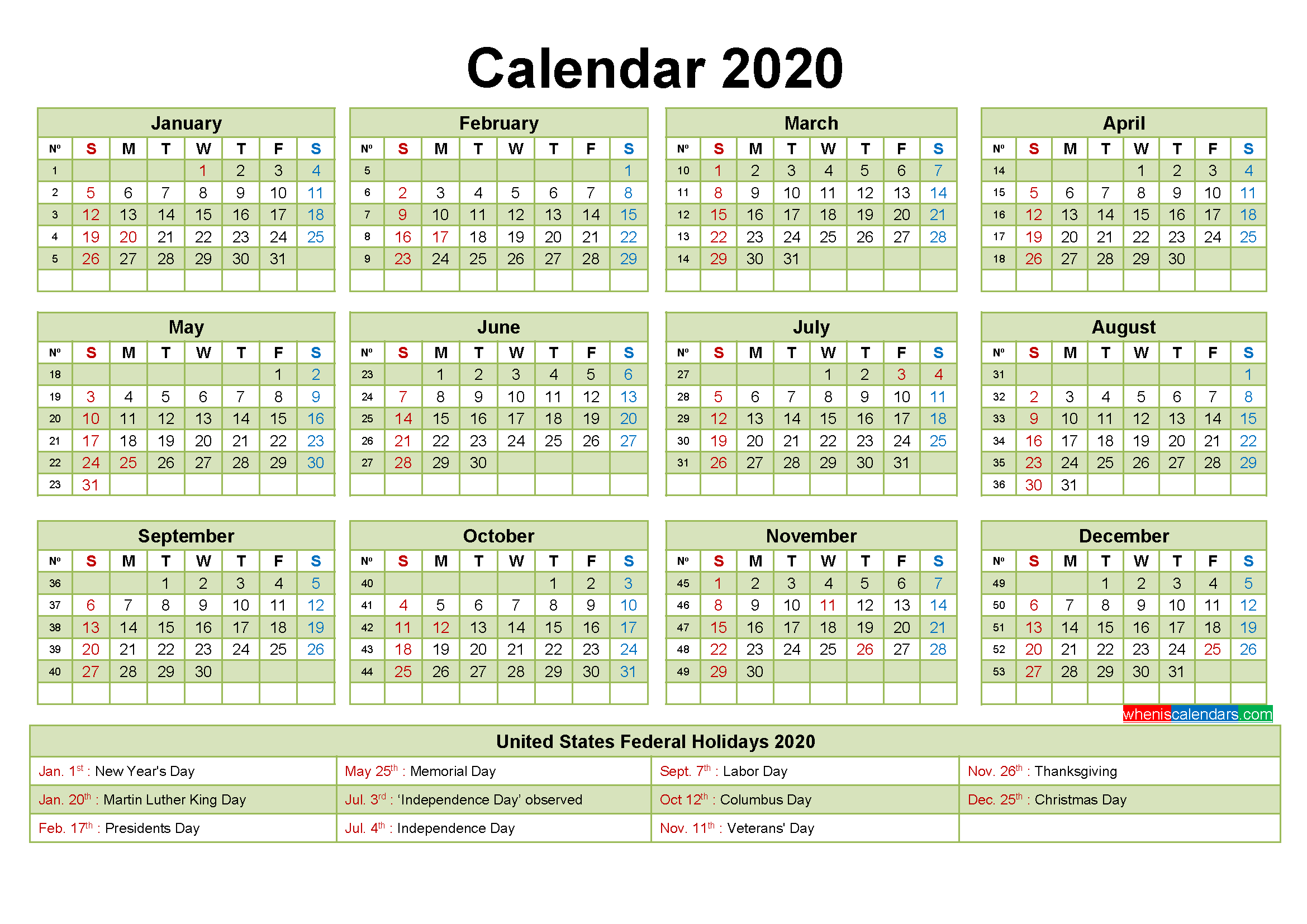 Printable Yearly 2020 Calendar with Holidays Word, PDF ...